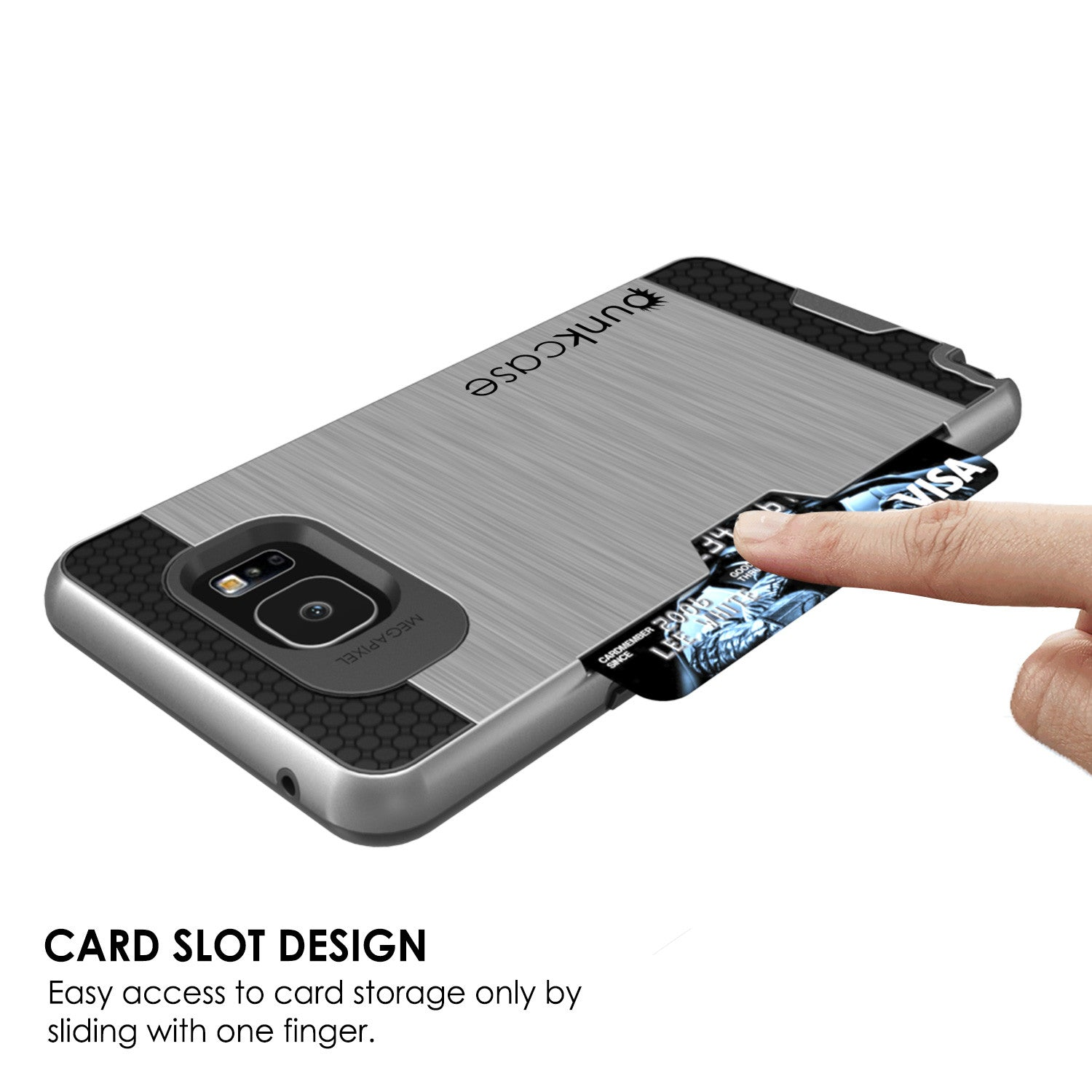 Galaxy Note 5 Case PunkCase SLOT Grey Series Slim Armor Soft Cover Case w/ Tempered Glass