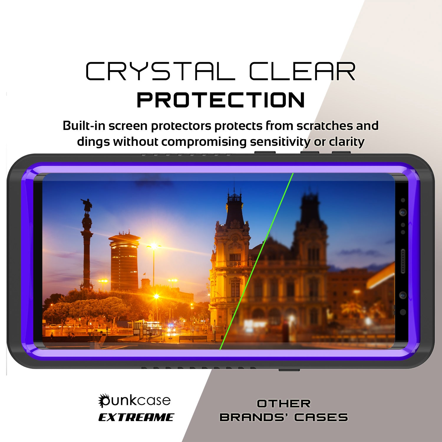 Galaxy Note 8 Anti-Shock Screen Protector Slim-Fit Case [Purple]