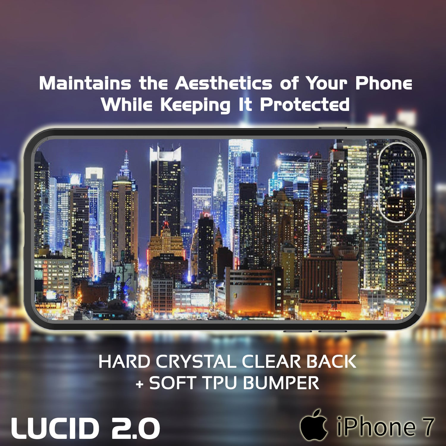 iPhone 7 Case Punkcase® LUCID 2.0 Black Series w/ PUNK SHIELD Screen Protector | Ultra Fit