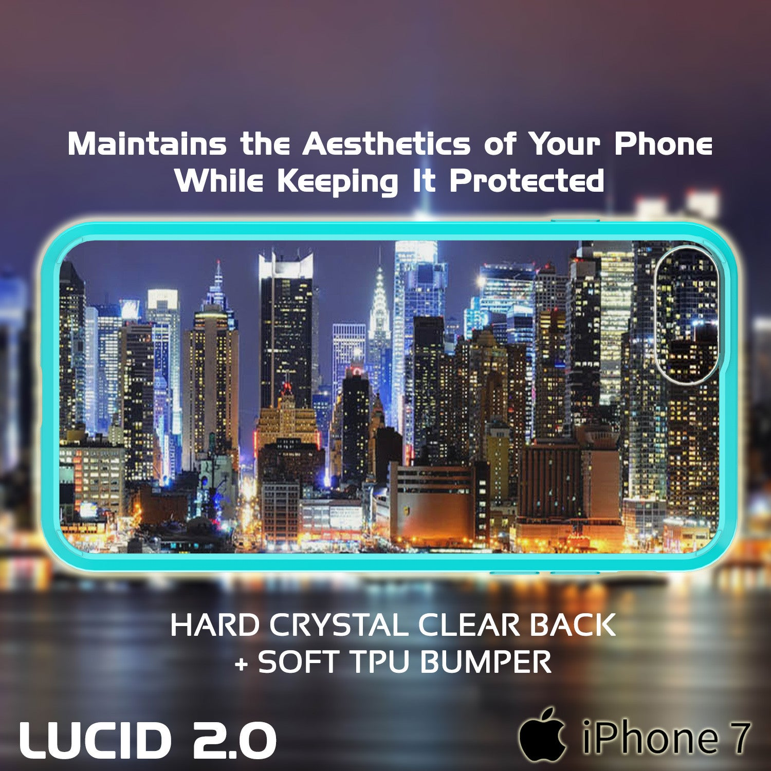 iPhone 7 Case Punkcase® LUCID 2.0 Teal Series w/ PUNK SHIELD Screen Protector | Ultra Fit