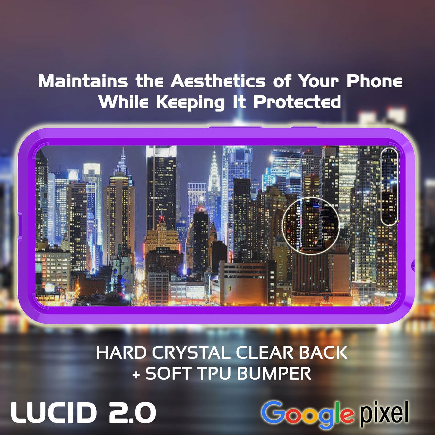 Google Pixel Case Punkcase® LUCID 2.0 Purple Series w/ PUNK SHIELD Glass Screen Protector | Ultra Fit