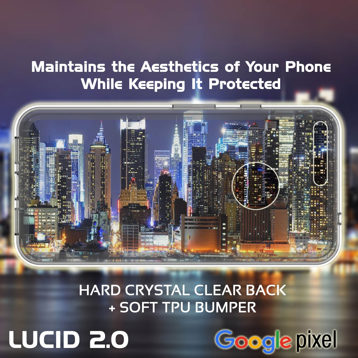 Google Pixel Case Punkcase® LUCID 2.0 Crystal Black Series w/ PUNK SHIELD Glass Screen Protector | Ultra Fit