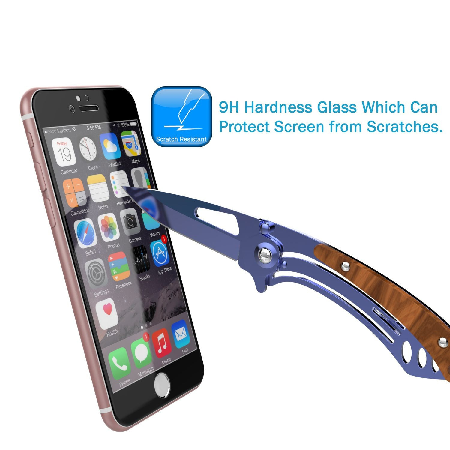 iPhone 6+/6s+ Plus  Black Screen Protector, Punkcase SHIELD Tempered Glass Protector 0.33mm Thick 9H