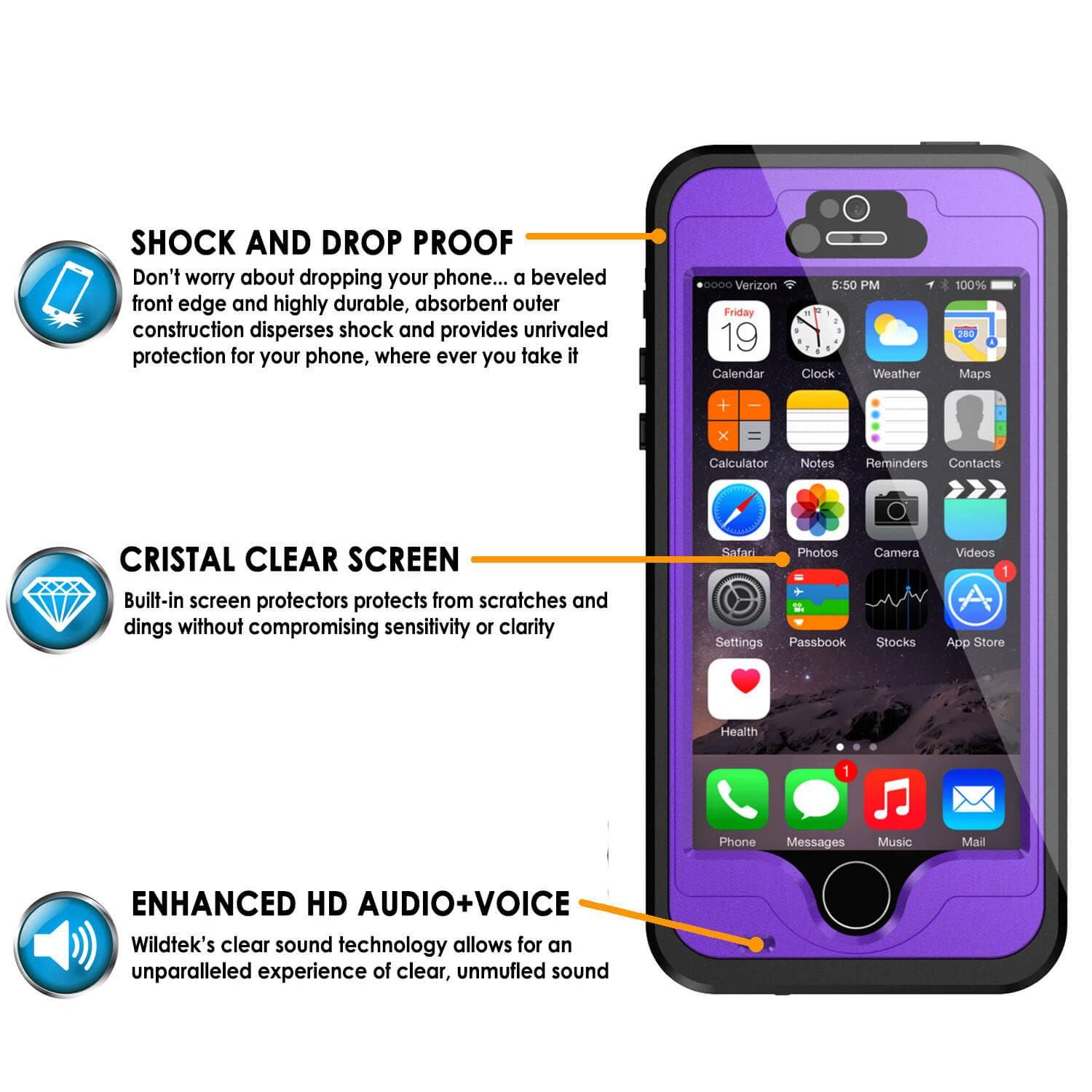 iPhone 5S/5 Waterproof Case PunkCase StudStar Purple Case Water/Shock/Dirt Proof | Lifetime Warranty