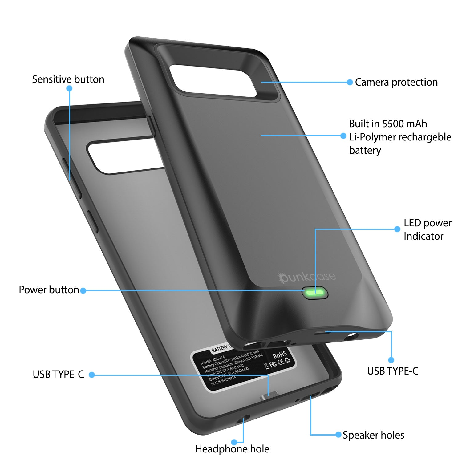 Galaxy Note 8 5000mAH Battery Charger W/ USB Port Slim Case [Black]