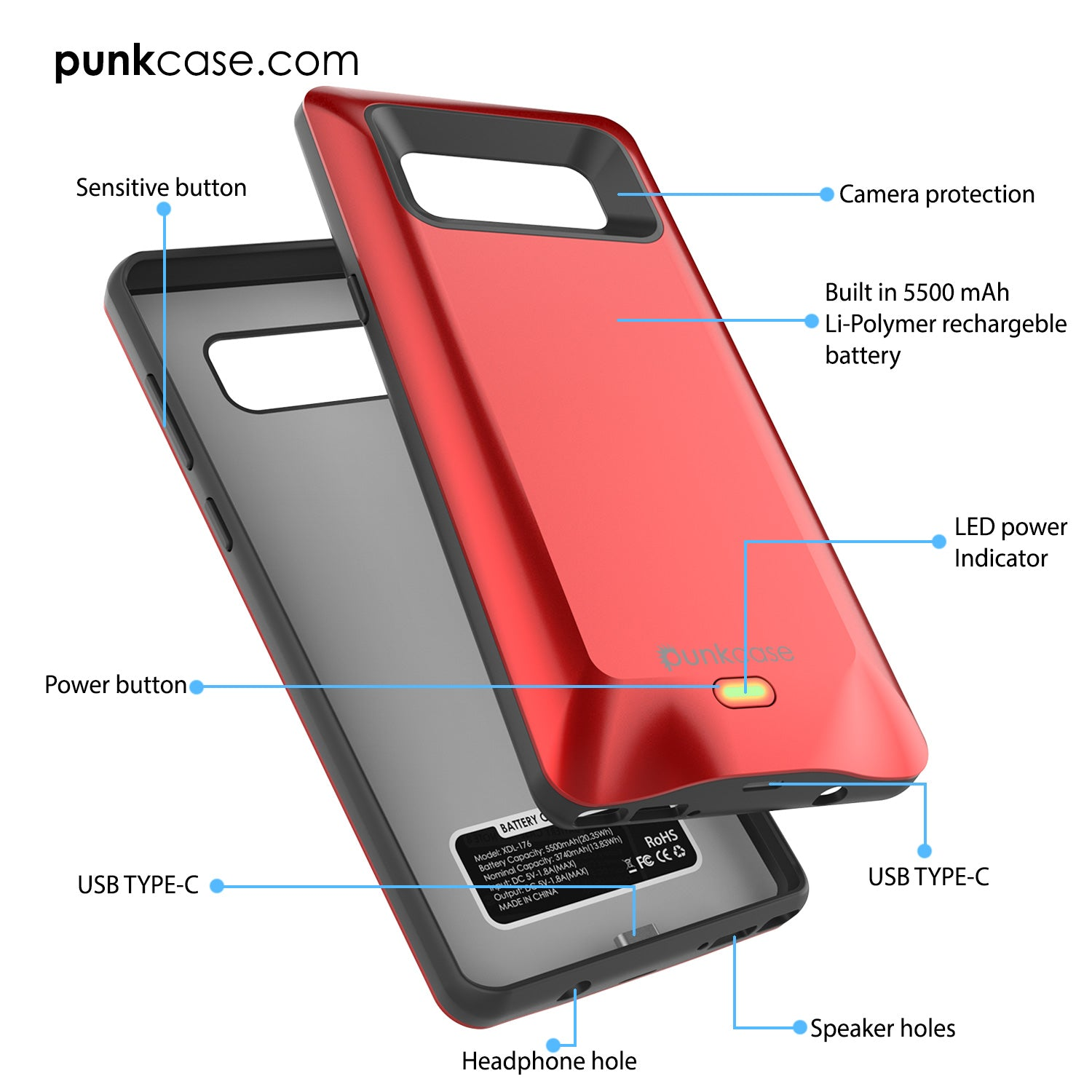 Galaxy Note 8 5000mAH Battery Charger W/ USB Port Slim Case [Red]