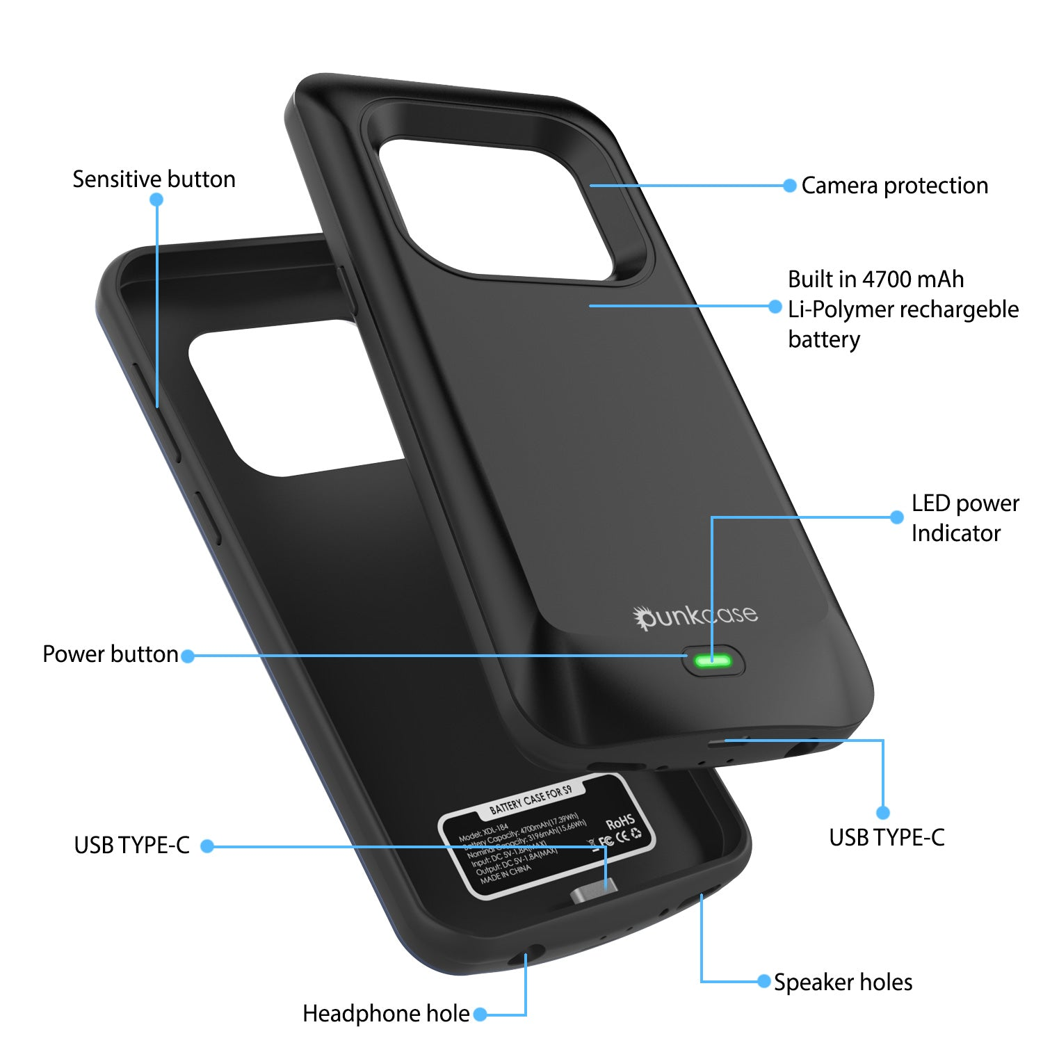 Galaxy S9 Battery Case Punkjuice 5000mah Fast Charging Power Bank Cas Juice Pack Plus Powerbank Backcover Iphone 5 Black