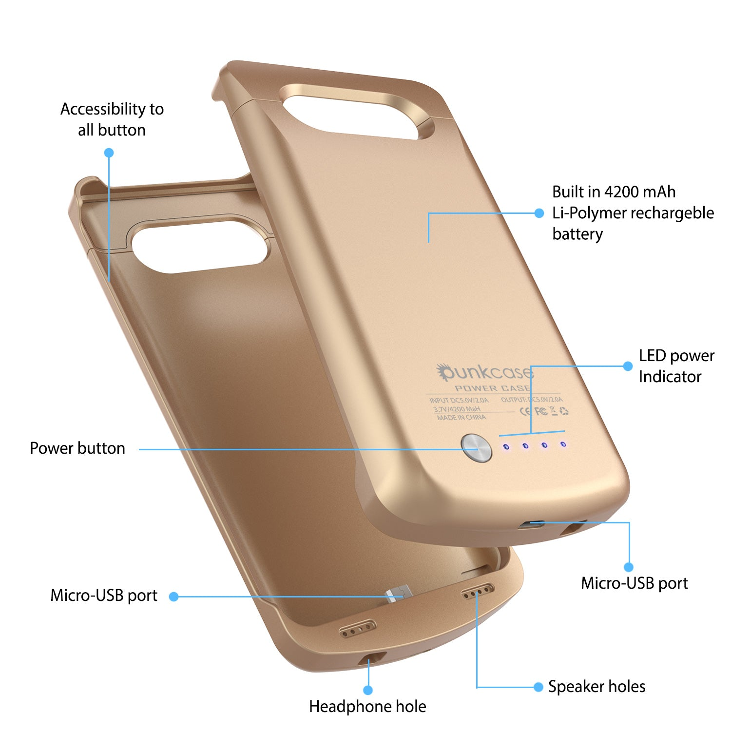 Galaxy Note 5 Battery Case, Punkcase 5000mAH Charger Case W/ Screen Protector | IntelSwitch [Gold]