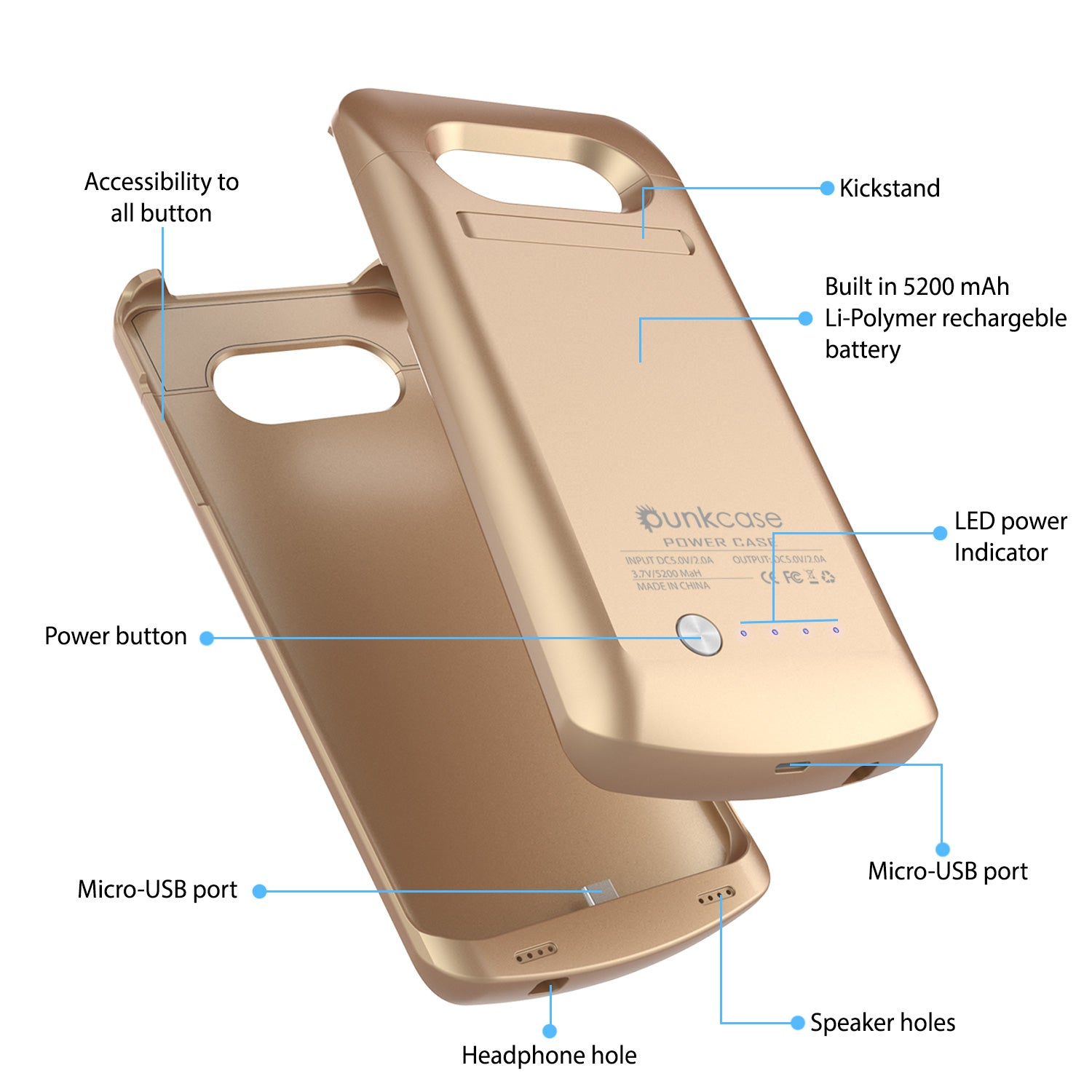 Galaxy S7 EDGE Battery Case, Punkcase 5200mAH Charger Case W/ Screen Protector | Integrated Kickstand & USB Port | IntelSwitch [Gold]