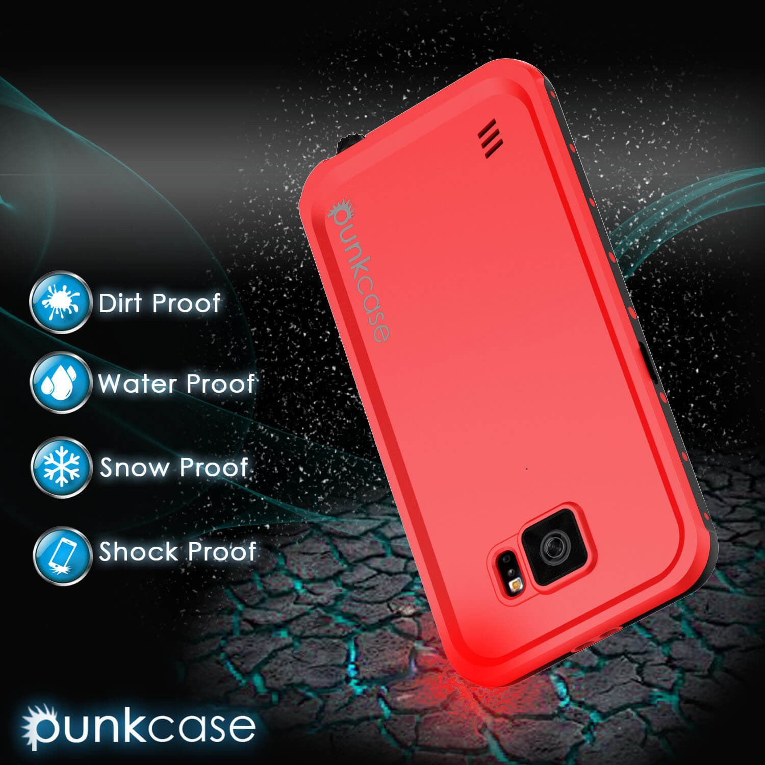 Galaxy S6 Waterproof Case PunkCase StudStar Red Thin 6.6ft Underwater IP68 Shock/Dirt/Snow Proof