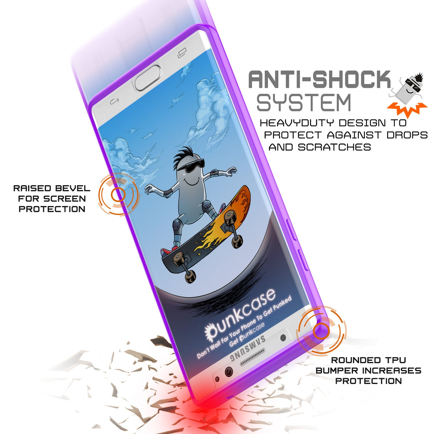Note 7 Case Punkcase® LUCID 2.0 Purple Series w/ PUNK SHIELD Screen Protector | Ultra Fit