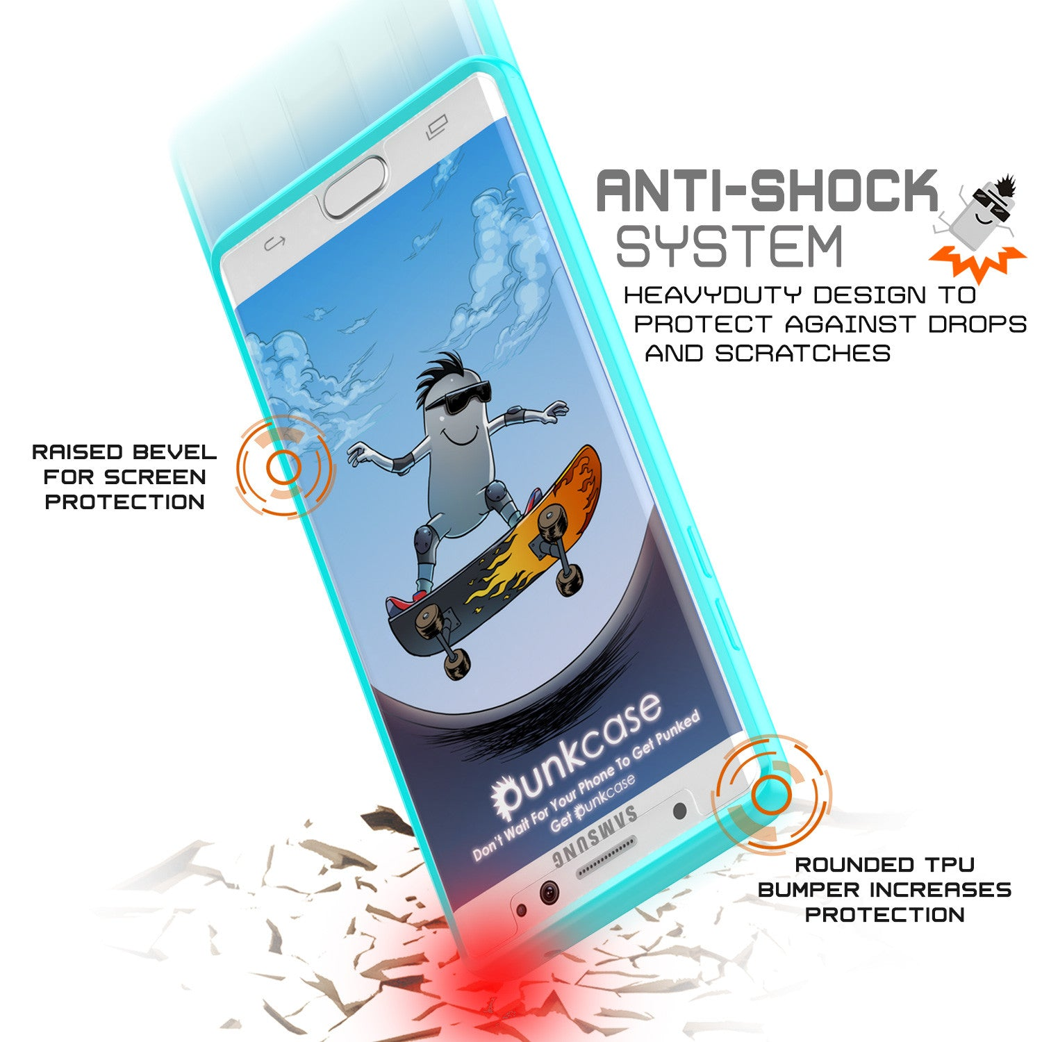 Note 7 Case Punkcase® LUCID 2.0 Teal Series w/ PUNK SHIELD Screen Protector | Ultra Fit