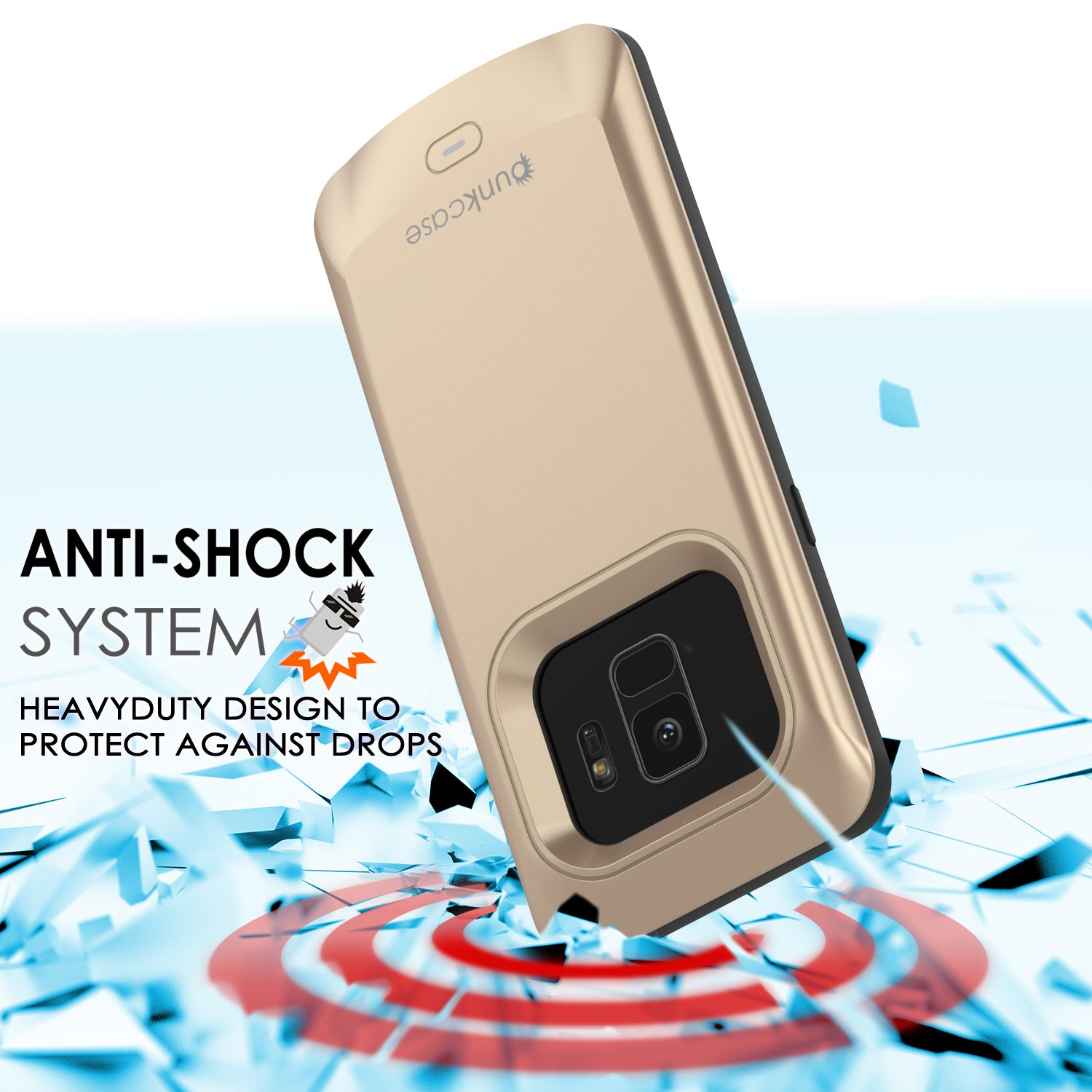 Galaxy S9 Battery Case, PunkJuice 5000mAH Fast Charging Power Bank Case[Gold]