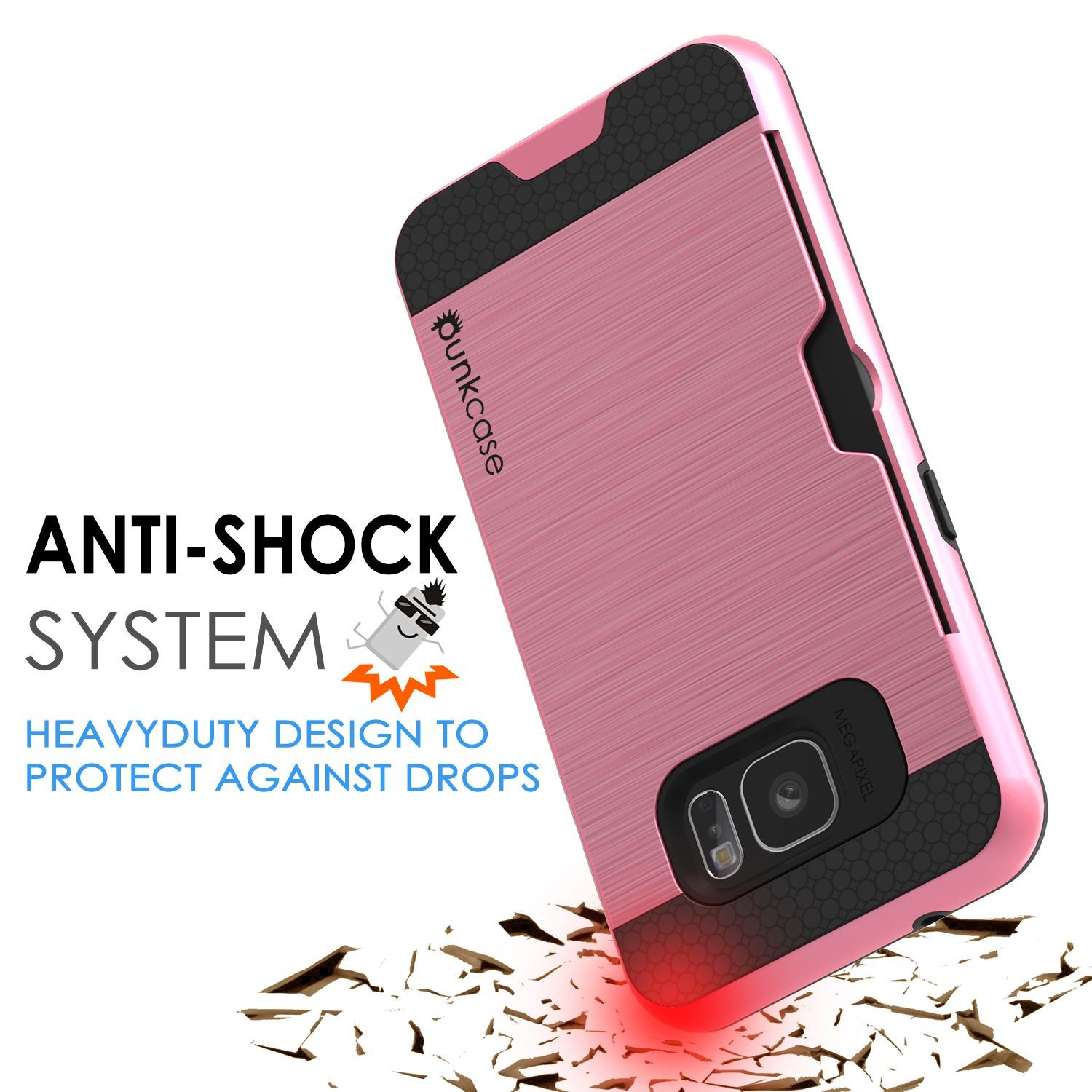 Galaxy s7 Case PunkCase SLOT Pink Series Slim Armor Soft Cover Case w/ Tempered Glass