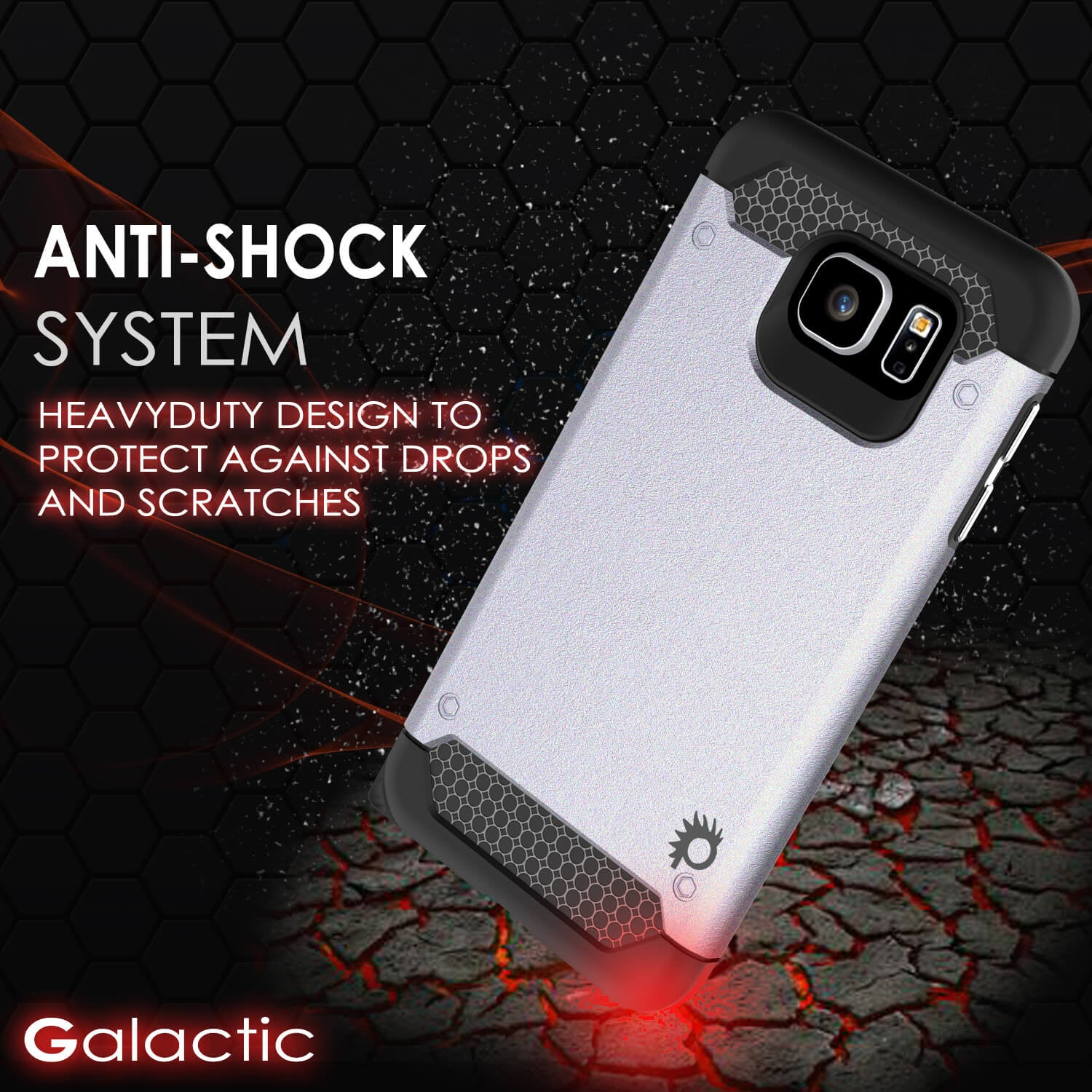 Galaxy S6 Case PunkCase Galactic Silver Slim Protective Armor Soft Cover Case w/ Tempered Glass