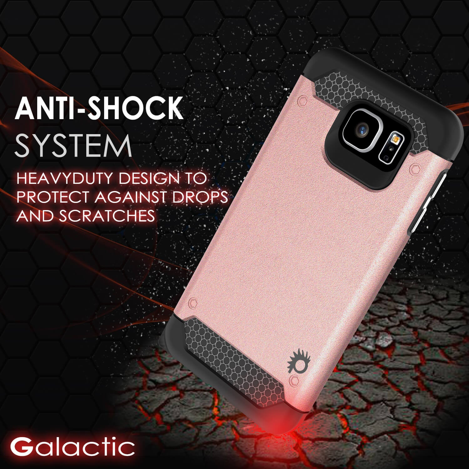 Galaxy s6 Case PunkCase Galactic Rose Gold Series Slim Armor Soft Cover Case w/ Tempered Glass