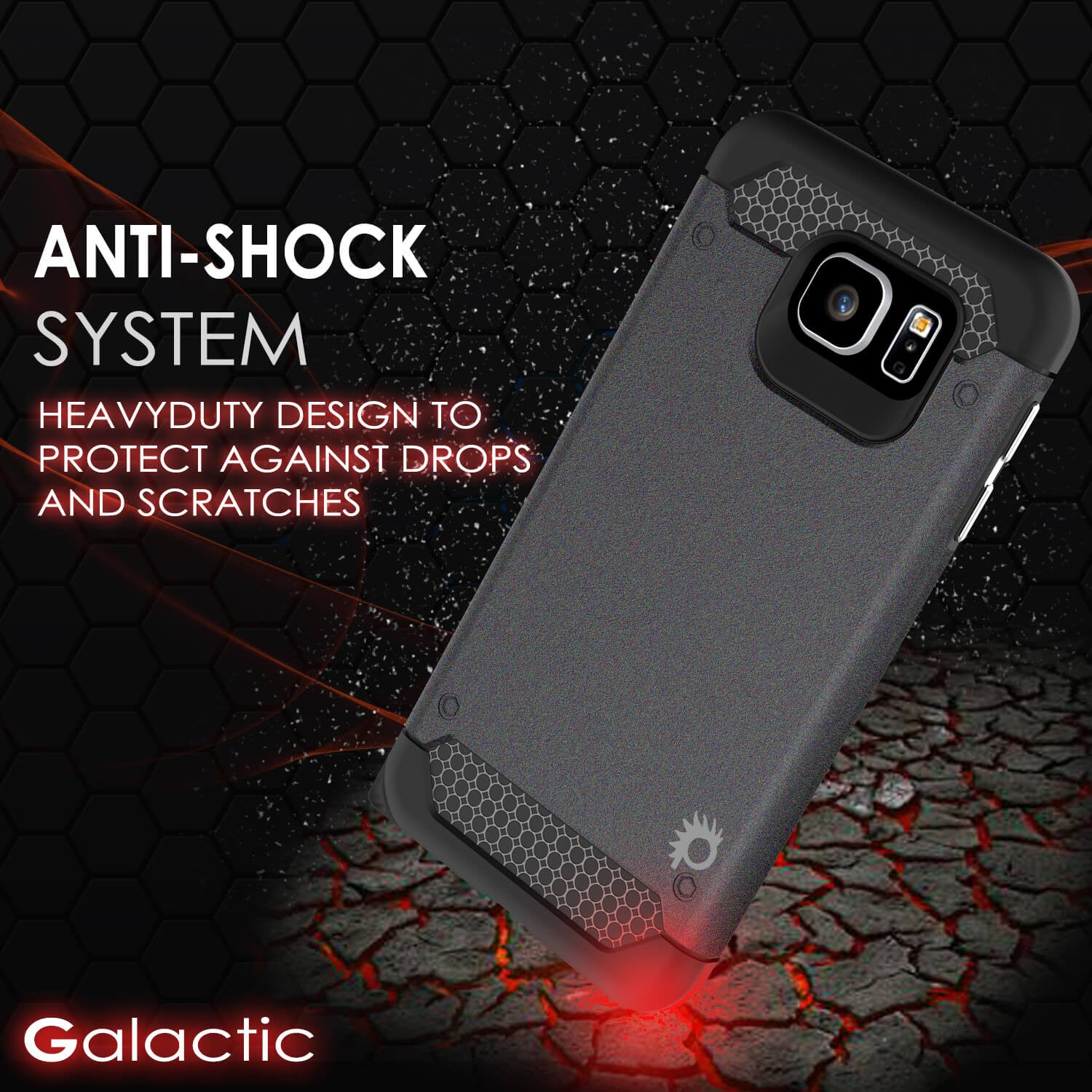 Galaxy s6 Case PunkCase Galactic Black Series Slim Armor Soft Cover Case w/ Tempered Glass