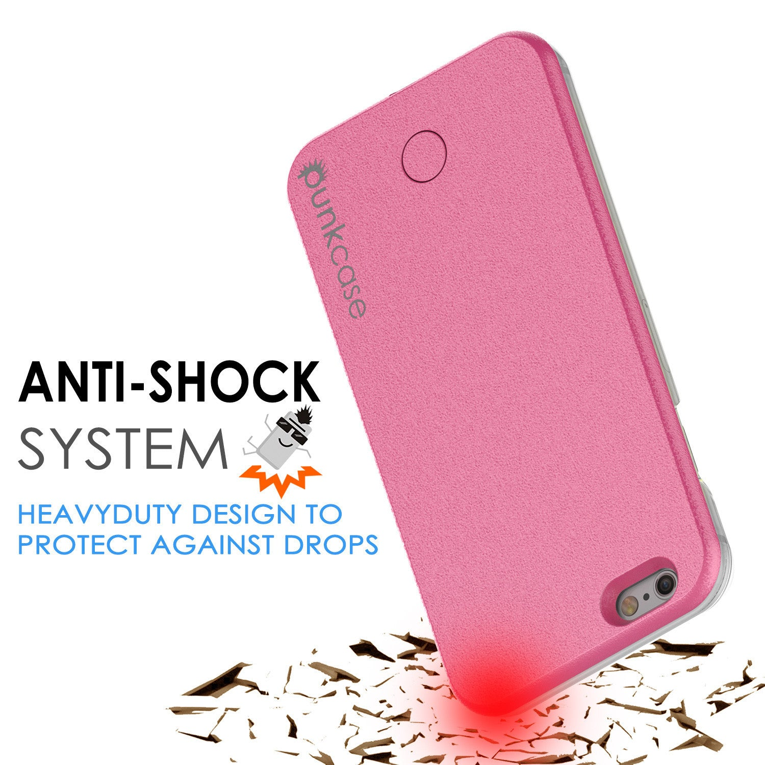 iPhone 6/6S Punkcase LED Light Case Light Illuminated Case, Pink  W/  Battery Power Bank