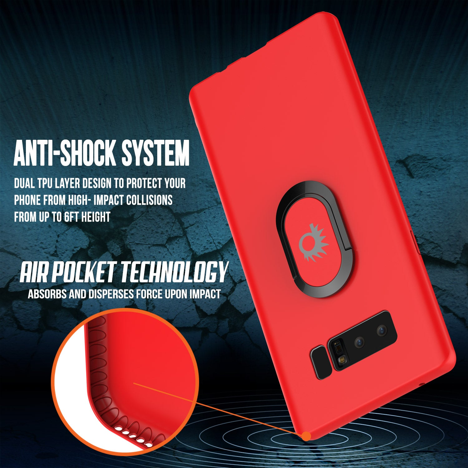 Galaxy Note 8 Punkcase Magnetix Screen Protector Slim Case [Red]