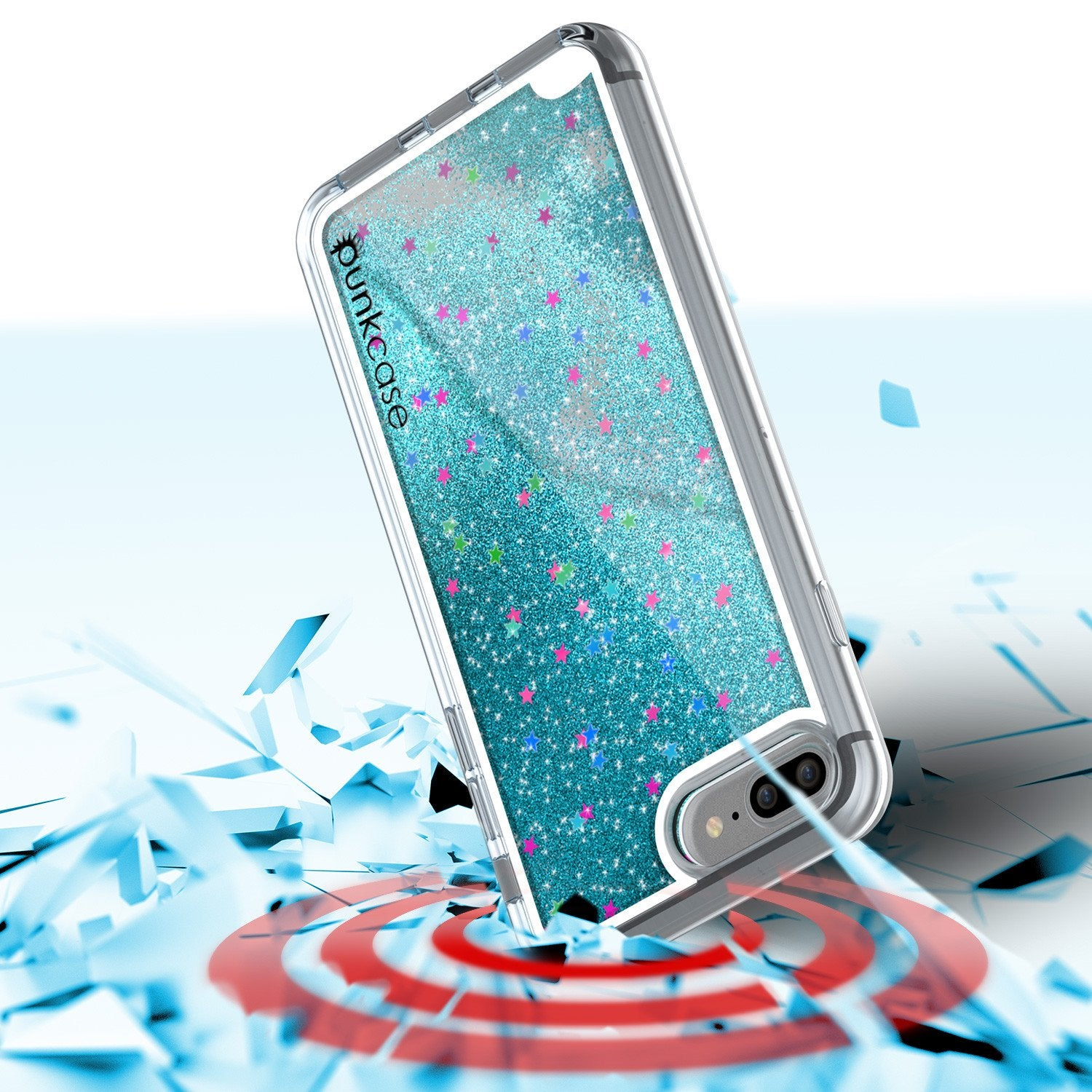iPhone 8+ Plus Case, PunkCase LIQUID Teal Series, Protective Dual Layer Floating Glitter Cover
