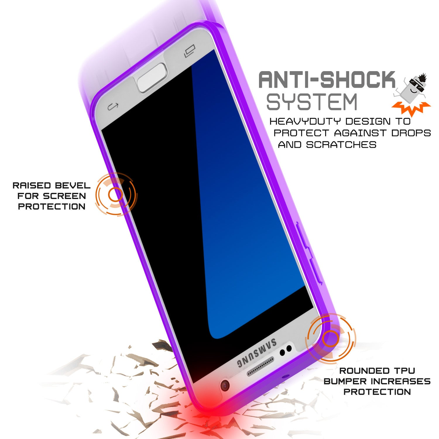 S7 Case Punkcase® LUCID 2.0 Purple Series w/ PUNK SHIELD Glass Screen Protector | Ultra Fit