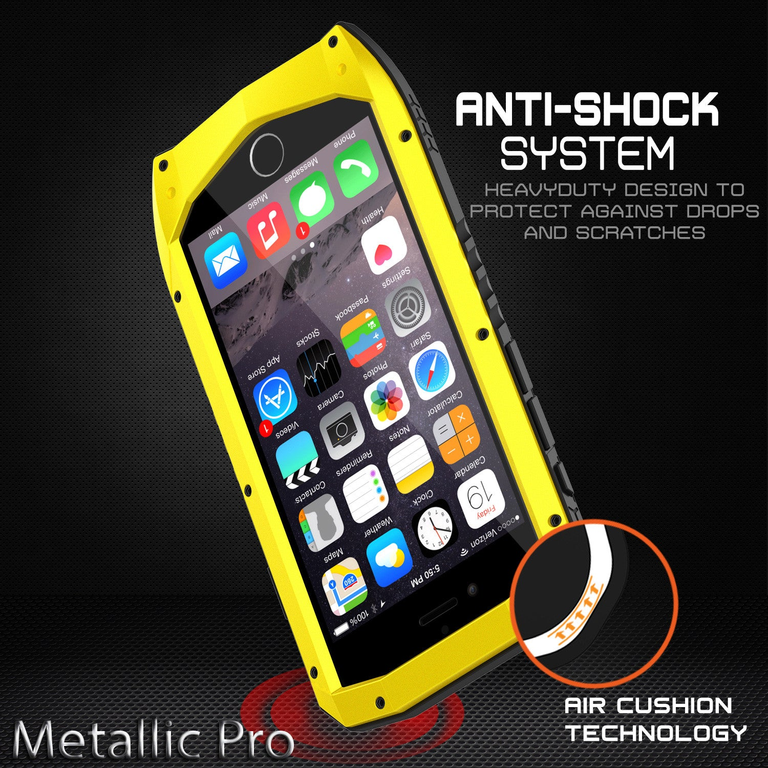 iPhone 6s/6 Case, Punkcase Metallic PRO Neon Series Cover W/ Attached Screen Protector | Touch-ID
