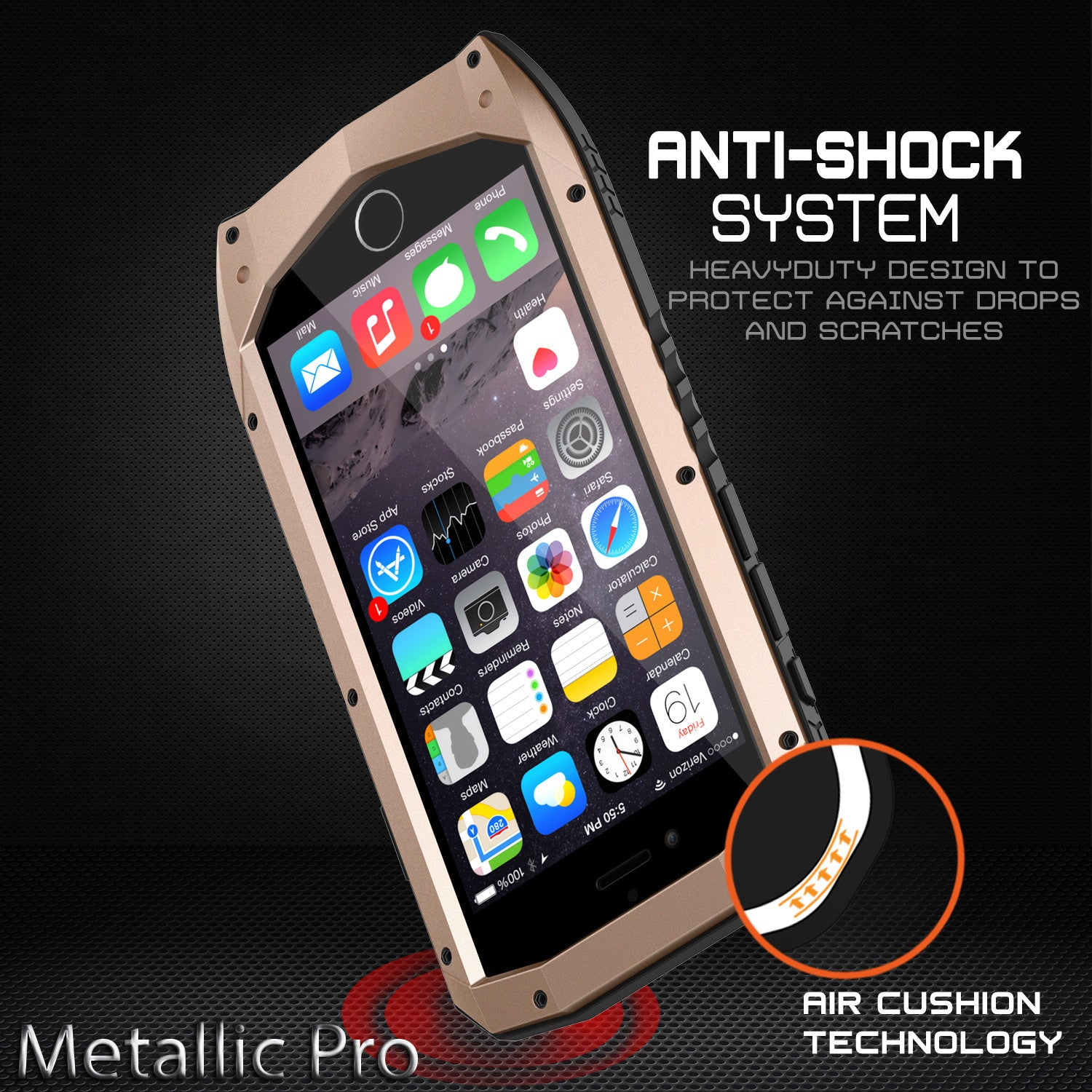 iPhone 6s/6 Case, Punkcase Metallic PRO Gold Series Cover W/ Attached Screen Protector | Touch-ID