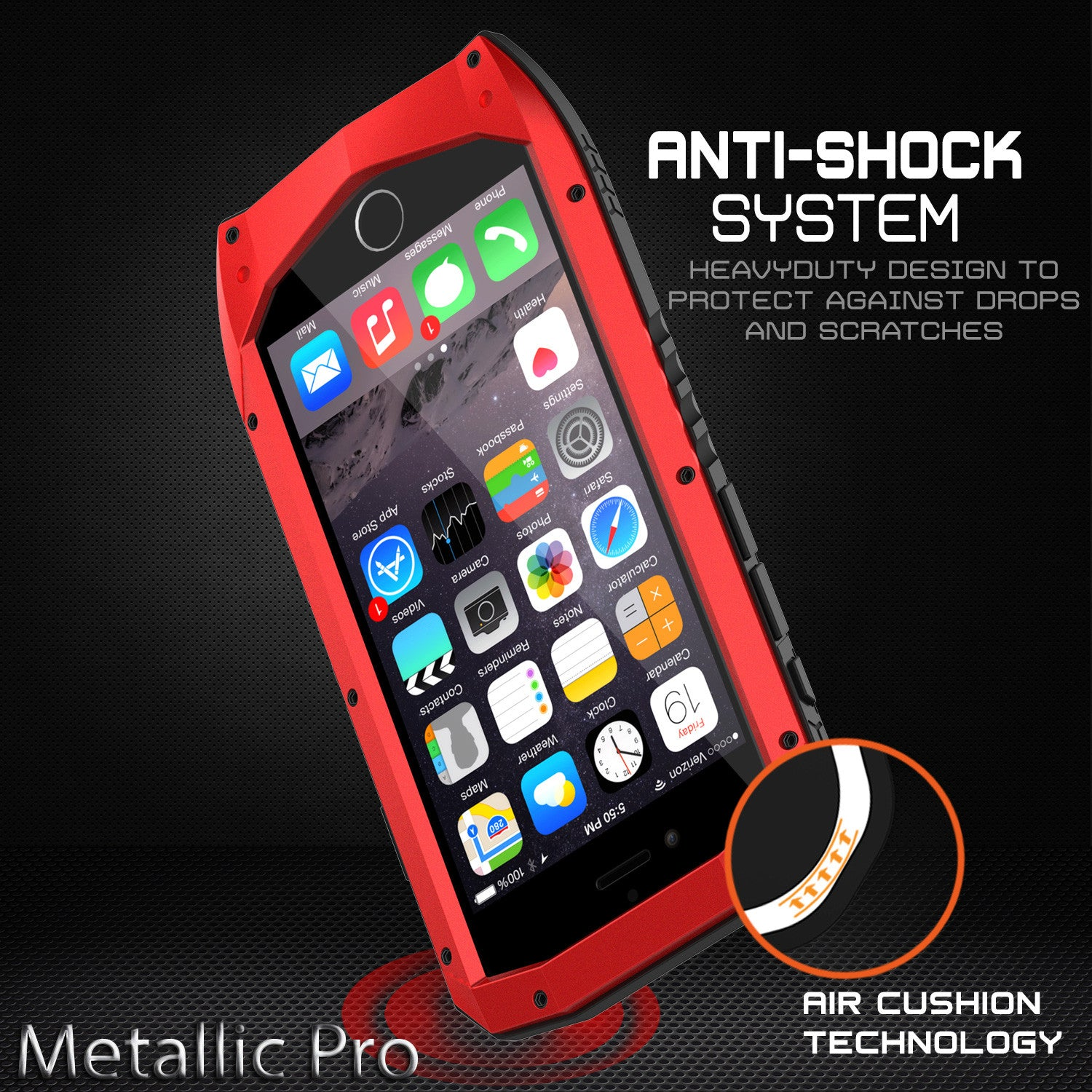 iPhone 6s/6 Case, Punkcase Metallic PRO Red Series Cover W/ Attached Screen Protector | Touch-ID