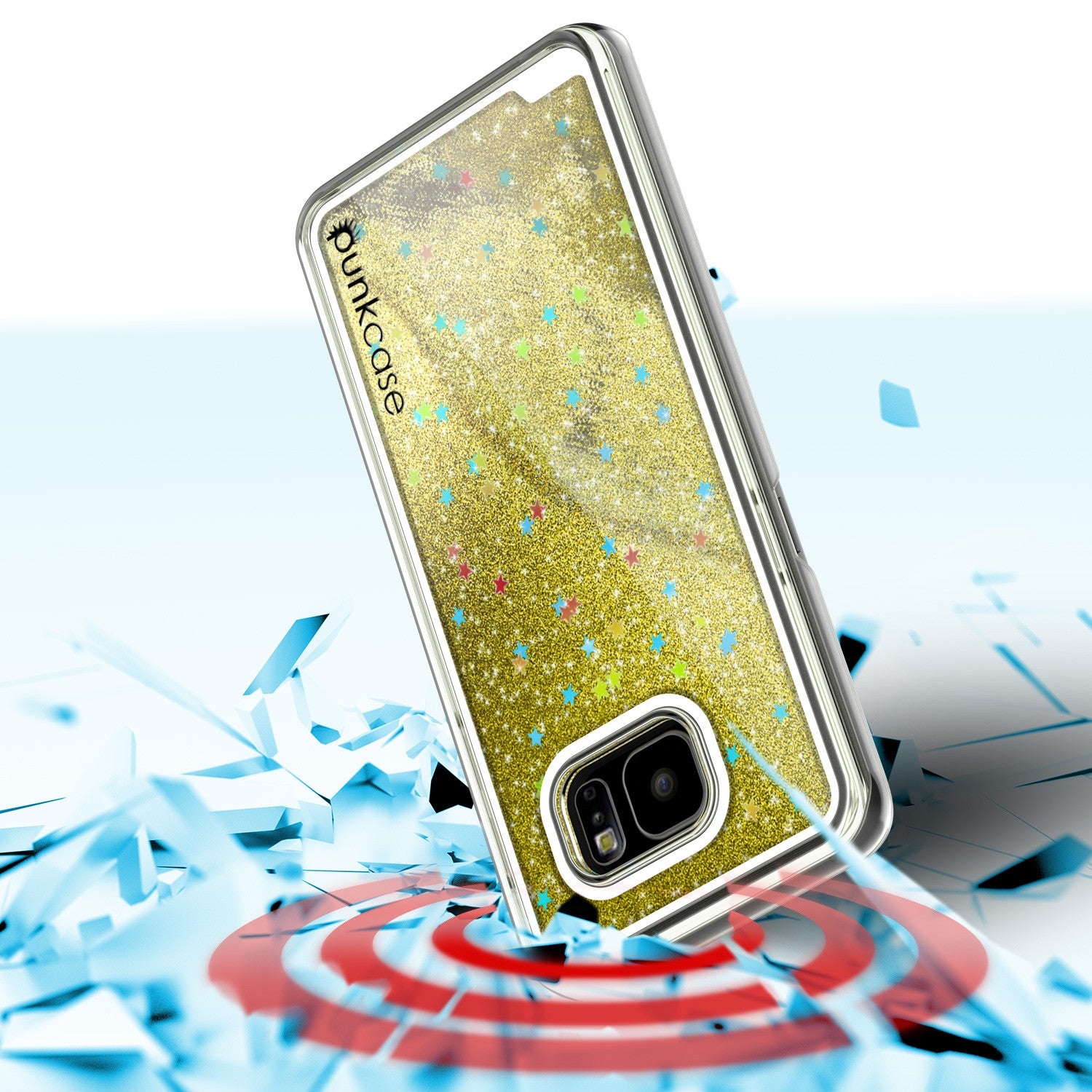 S7 Edge Case, Punkcase [Liquid GOLD Series] Protective Dual Layer Floating Glitter Cover with lots of Bling & Sparkle + PunkShield Screen Protector