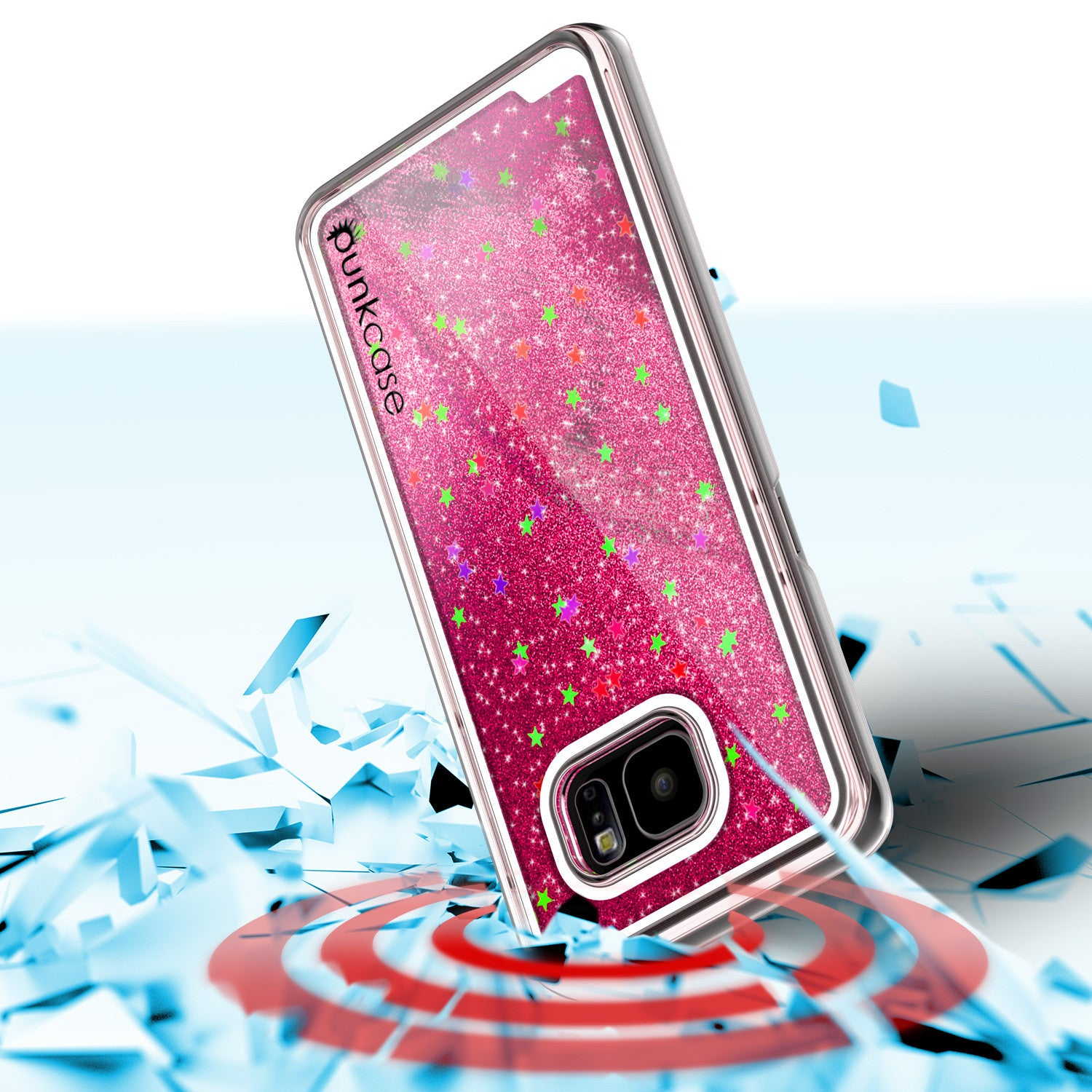 S7 Edge Case, PunkCase LIQUID Pink Series, Protective Dual Layer Floating Glitter Cover