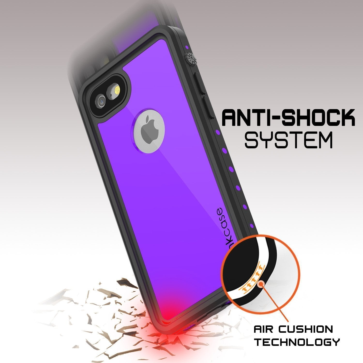 iPhone 8 Waterproof Case, Punkcase [Purple] [StudStar Series] [Slim Fit][IP68 Certified]  [Dirtproof] [Snowproof]
