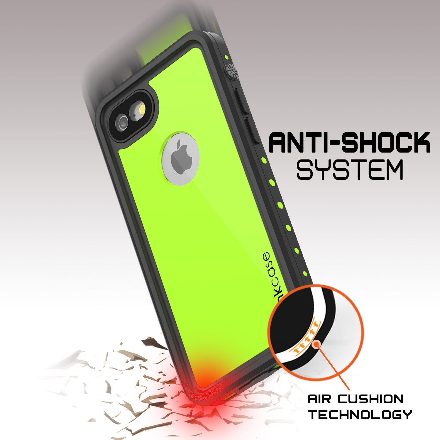 iPhone 7 Waterproof IP68 Case, Punkcase [Light Green] [StudStar Series] [Slim Fit] [Dirt/Snow Proof]