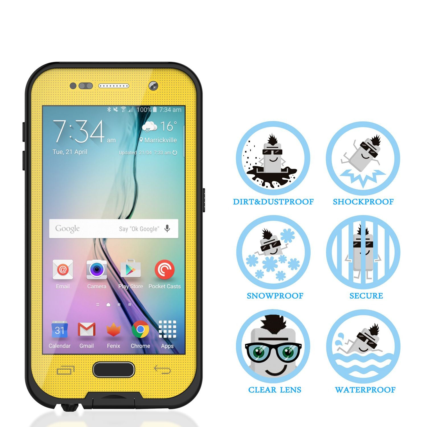 Galaxy S6 Waterproof Case Punkcase SpikeStar Yellow Water/Shock/Dirt/Snow Proof | Lifetime Warranty