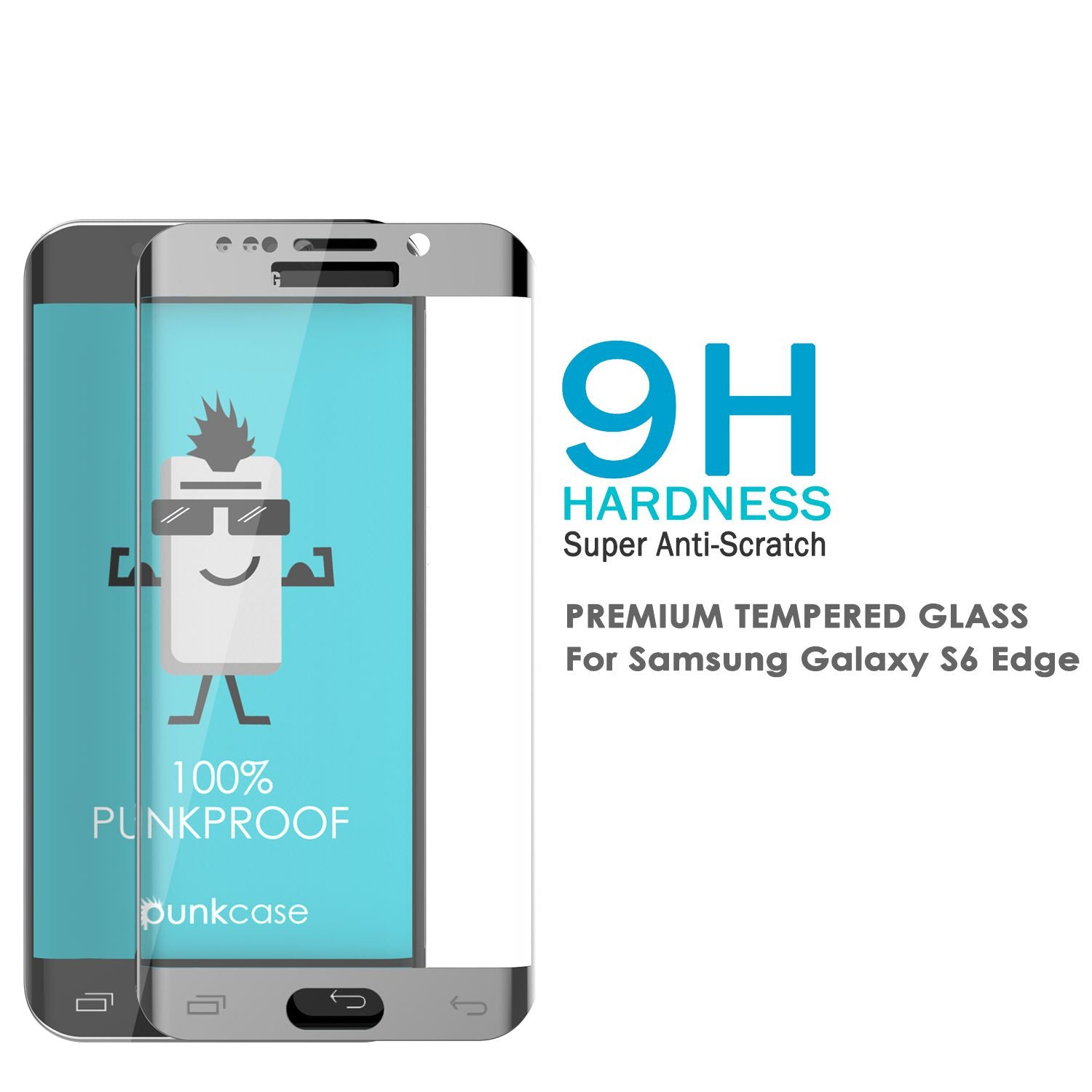 Galaxy S7 Silver Screen Protector, Punkcase Glass SHIELD Tempered Glass Protector 0.33mm Thick 9H