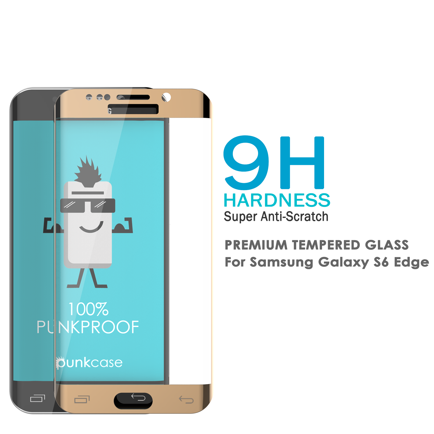 Galaxy S6 Edge Gold Punkcase Glass SHIELD Tempered Glass Screen Protector 0.33mm Thick 9H Glass