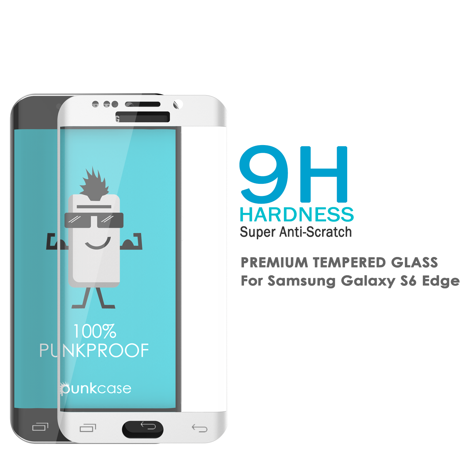 Galaxy S6 Edge White Punkcase Glass SHIELD Tempered Glass Screen Protector 0.33mm Thick 9H Glass