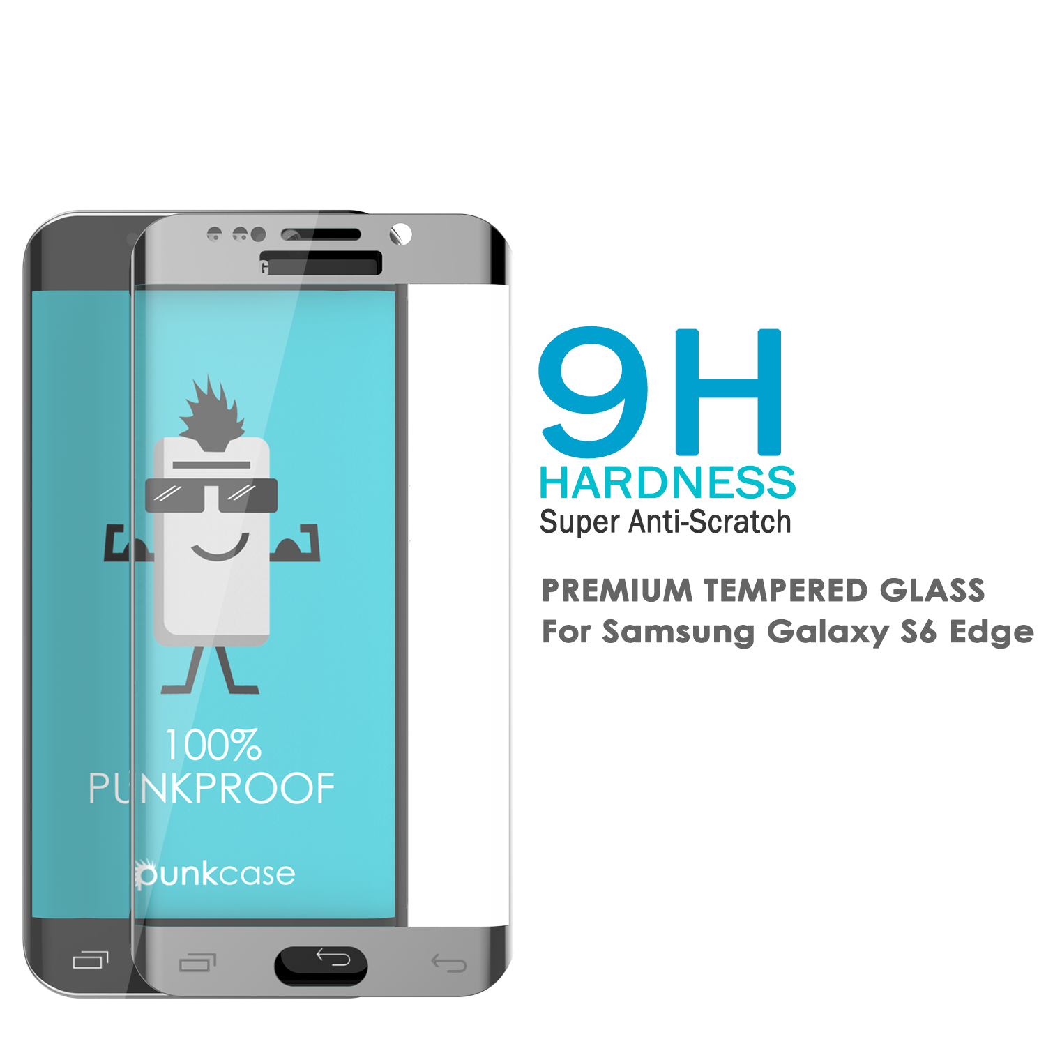 Galaxy S6 Edge Silver Punkcase Glass SHIELD Tempered Glass Screen Protector 0.33mm Thick 9H Glass