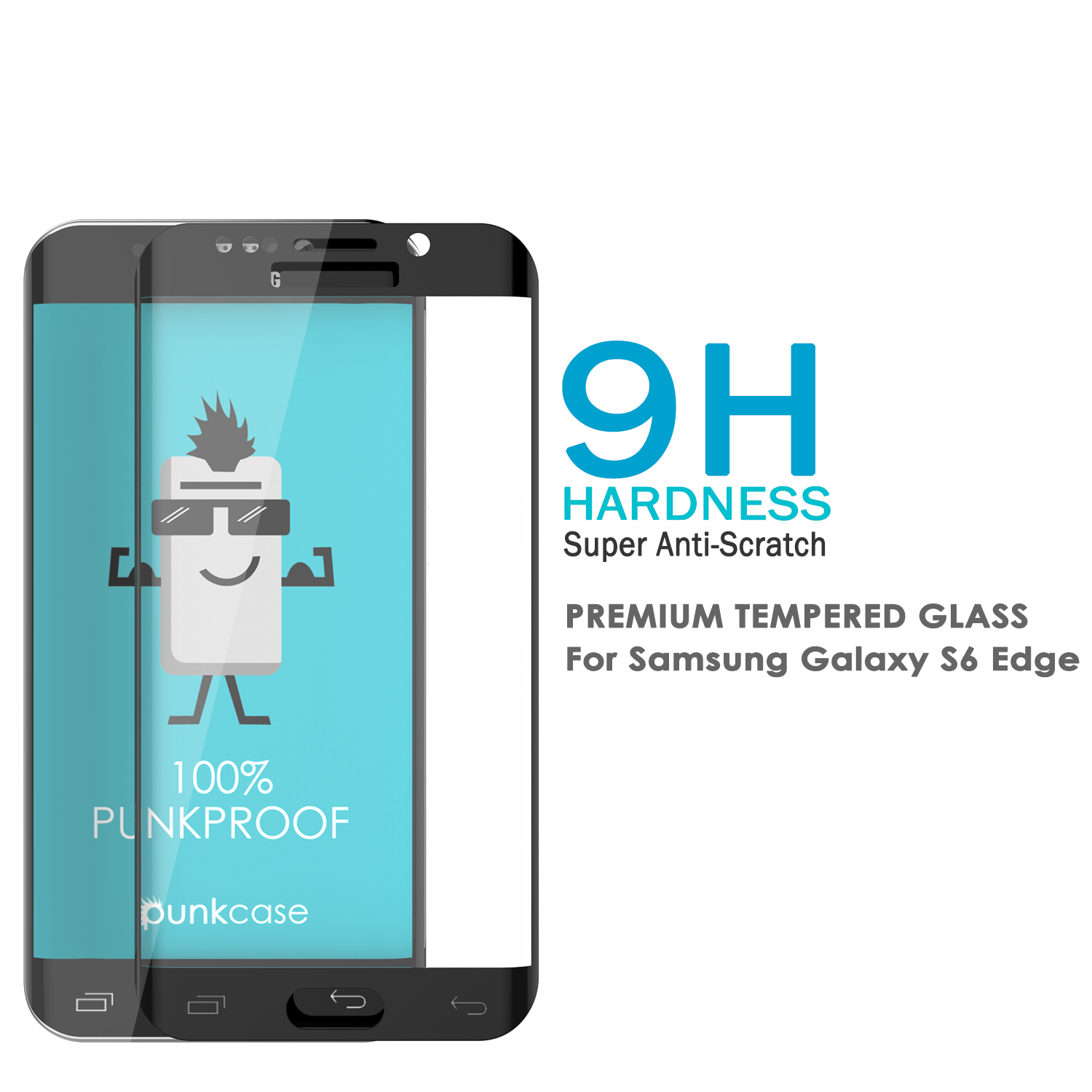 Galaxy S6 Edge Black Punkcase Glass SHIELD Tempered Glass Screen Protector 0.33mm Thick 9H Glass
