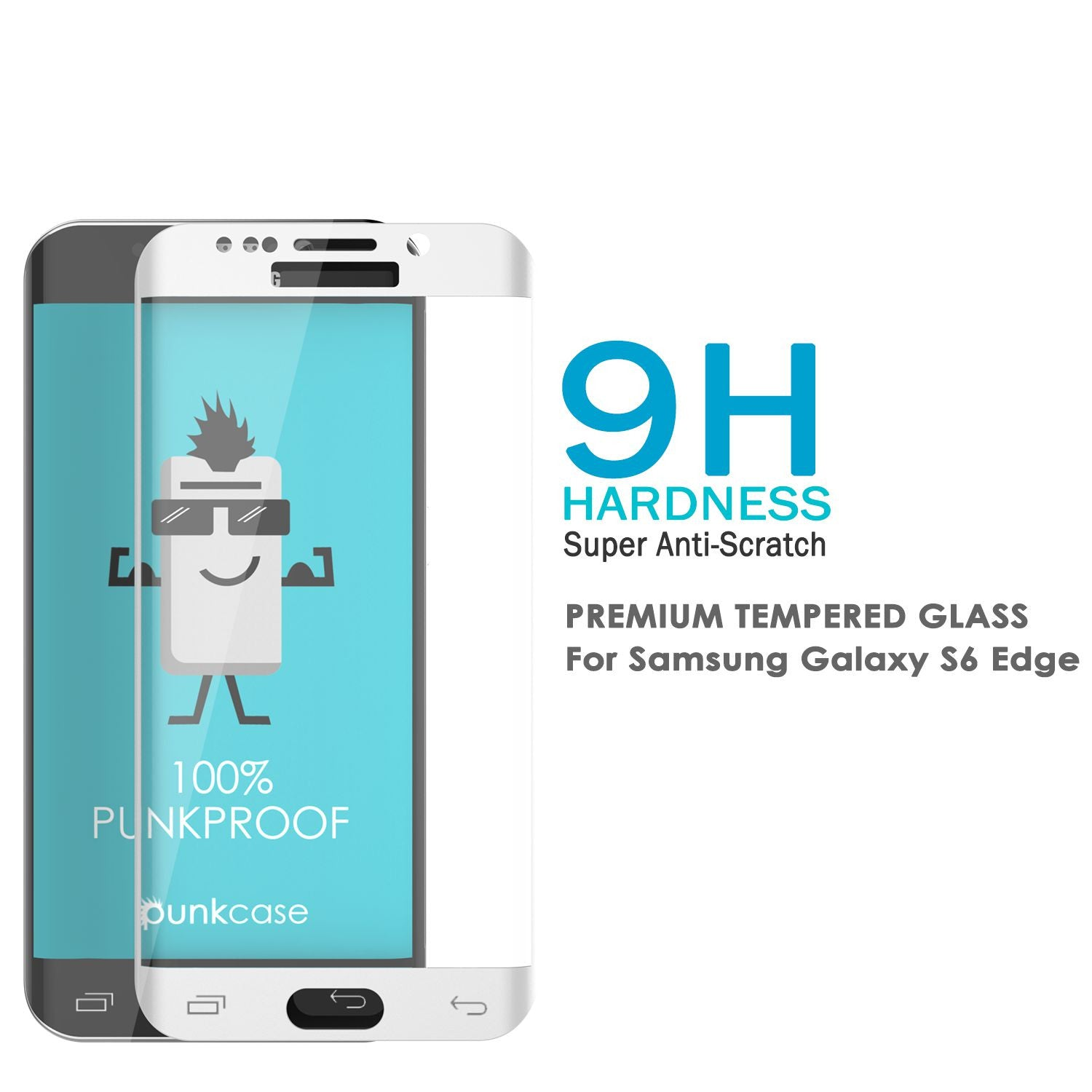 Galaxy S7 White Screen Protector, Punkcase Glass SHIELD Tempered Glass Protector 0.33mm Thick 9H
