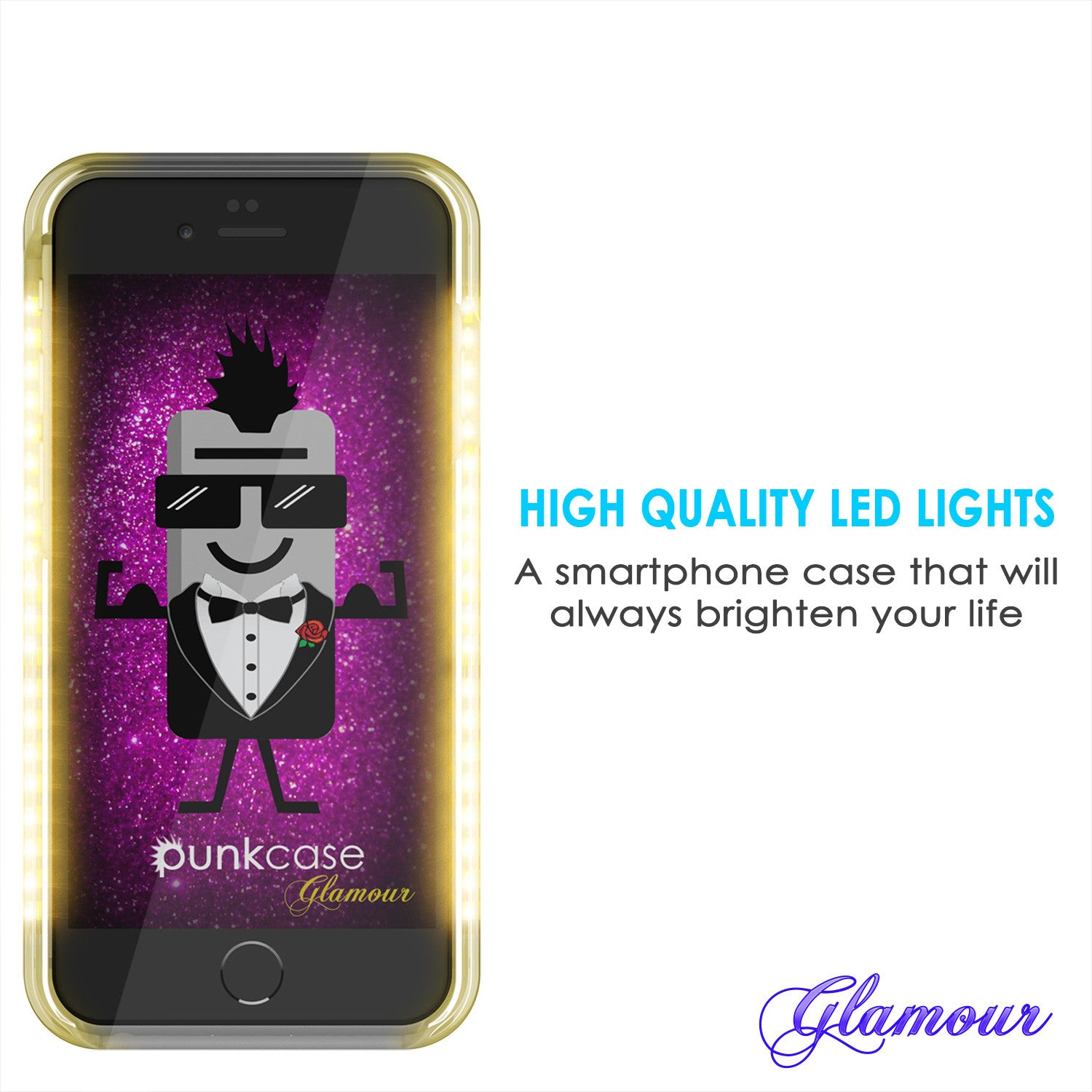 iPhone 6+/6S+ Plus Punkcase LED Light Case Light Illuminated Case, ROSE GOLD  W/  Battery Power Bank