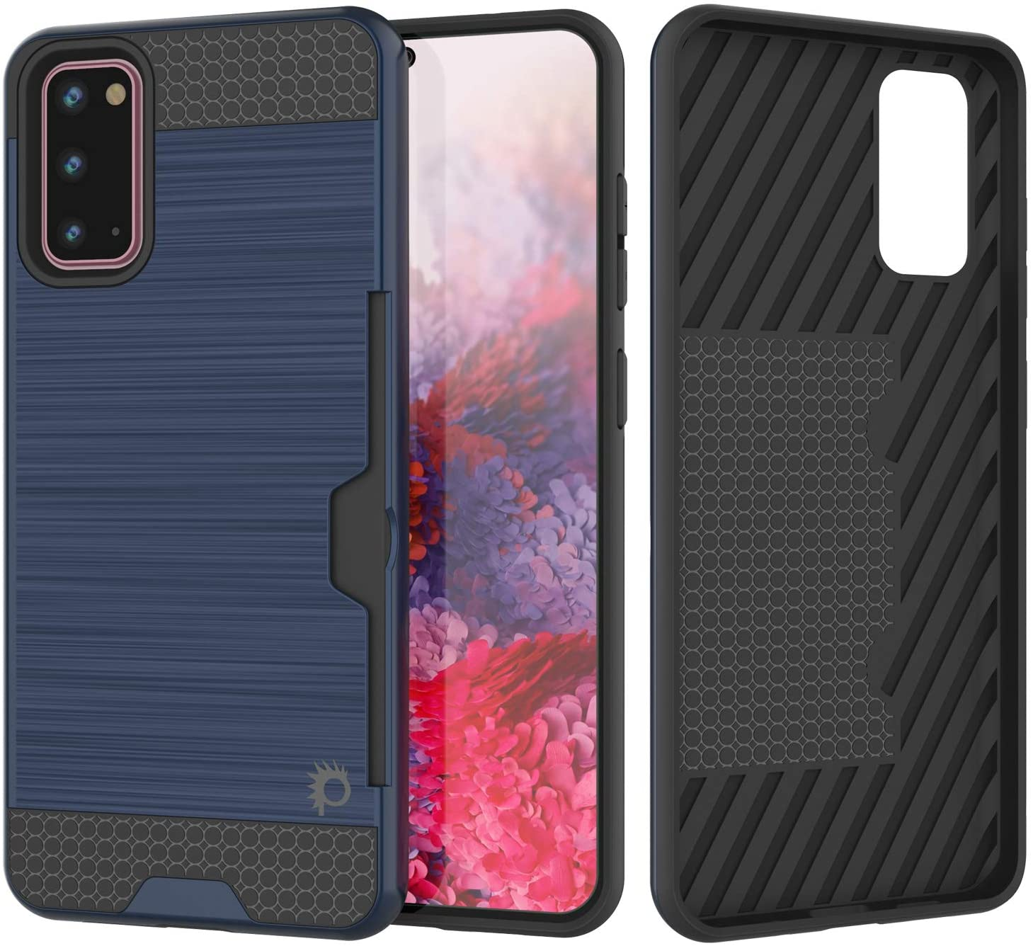 Galaxy S20 Case, PUNKcase [SLOT Series] [Slim Fit] Dual-Layer Armor Cover w/Integrated Anti-Shock System, Credit Card Slot [Navy]