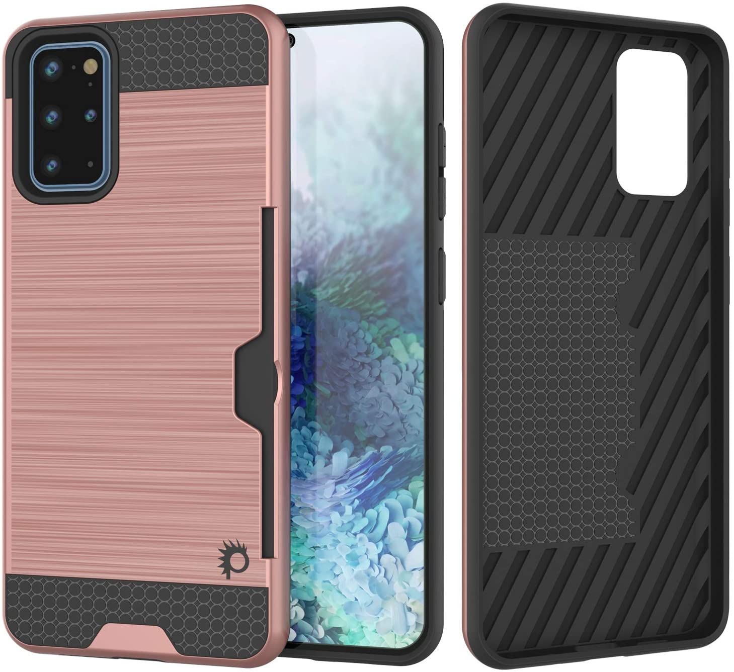 Galaxy S20+ Plus  Case, PUNKcase [SLOT Series] [Slim Fit] Dual-Layer Armor Cover w/Integrated Anti-Shock System, Credit Card Slot [Rose Gold]