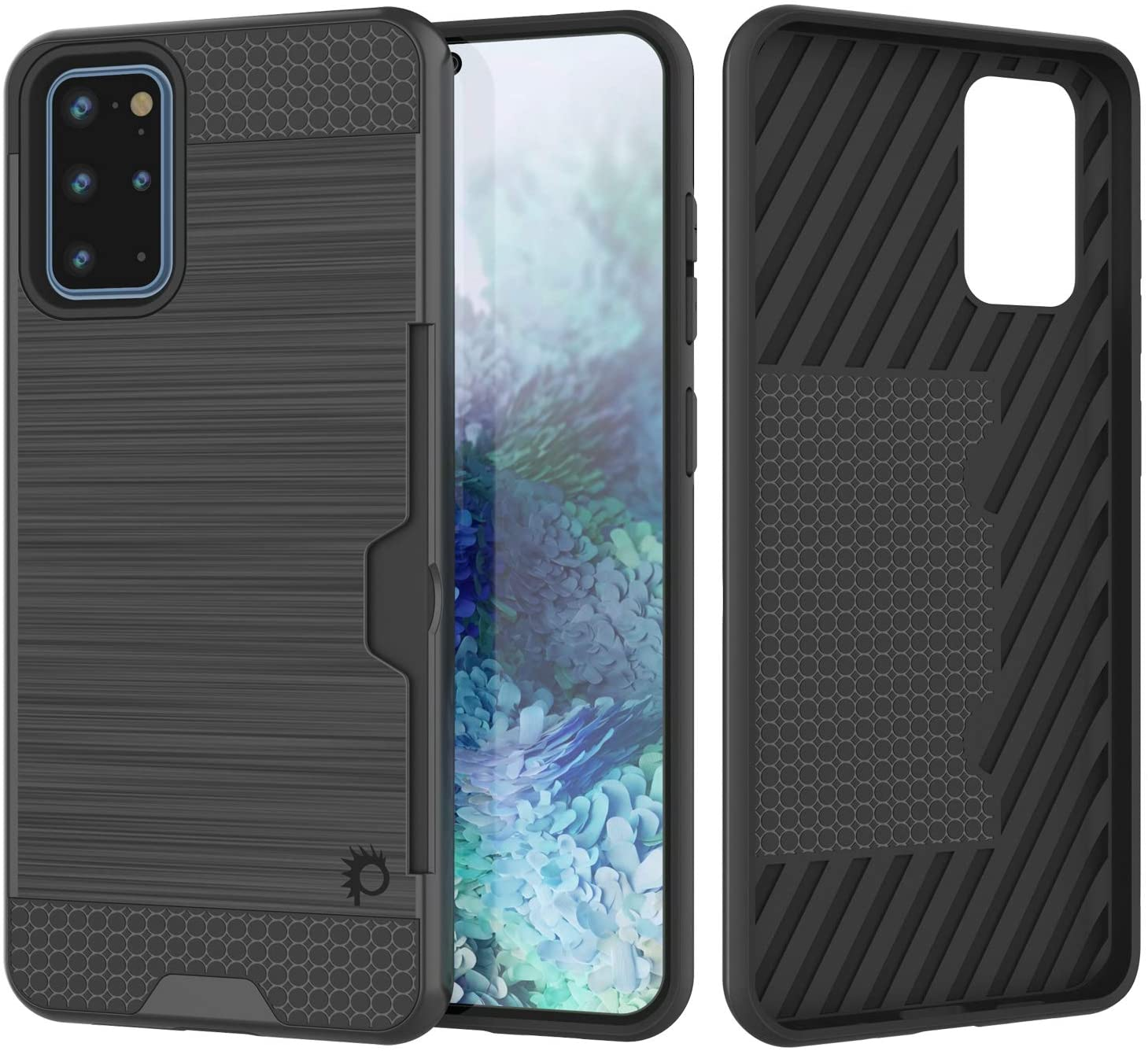 Galaxy S20+ Plus  Case, PUNKcase [SLOT Series] [Slim Fit] Dual-Layer Armor Cover w/Integrated Anti-Shock System, Credit Card Slot [Grey]