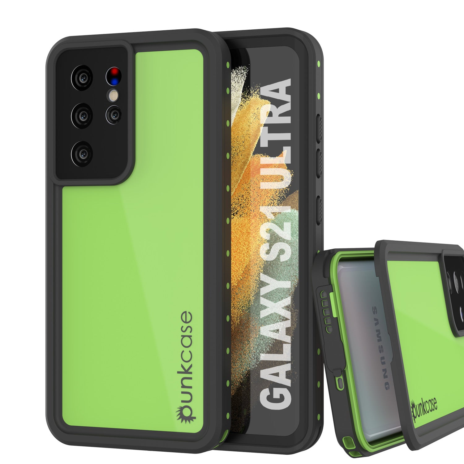 Galaxy S21 Ultra Waterproof Case PunkCase StudStar Light Green Thin 6.6ft Underwater IP68 ShockProof