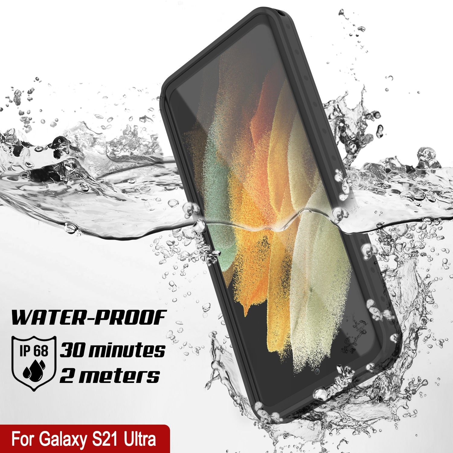Galaxy S21 Ultra Waterproof Case PunkCase StudStar Black Thin 6.6ft Underwater IP68 Shock/Snow Proof