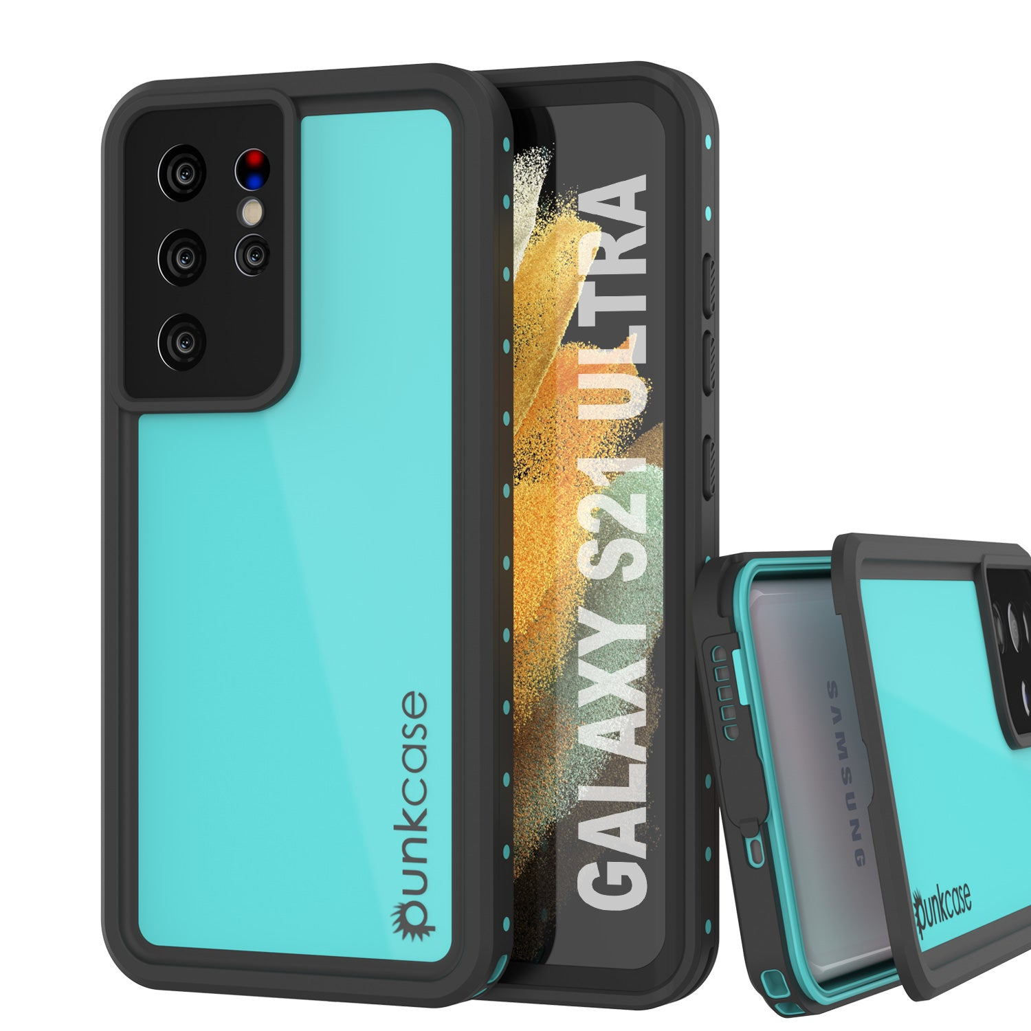 Galaxy S21 Ultra Waterproof Case PunkCase StudStar Teal Thin 6.6ft Underwater IP68 Shock/Snow Proof