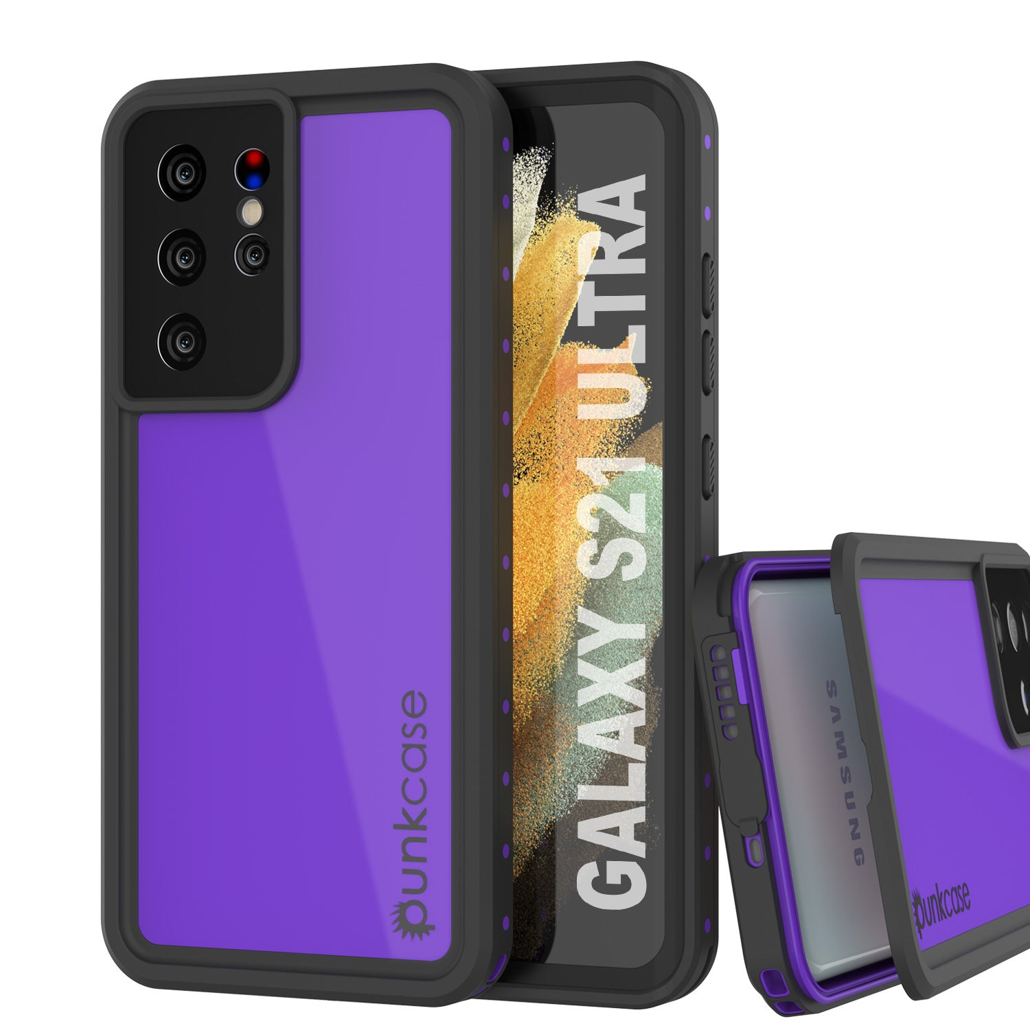 Galaxy S21 Ultra Waterproof Case PunkCase StudStar Purple Thin 6.6ft Underwater IP68 Shock/Snow Proof