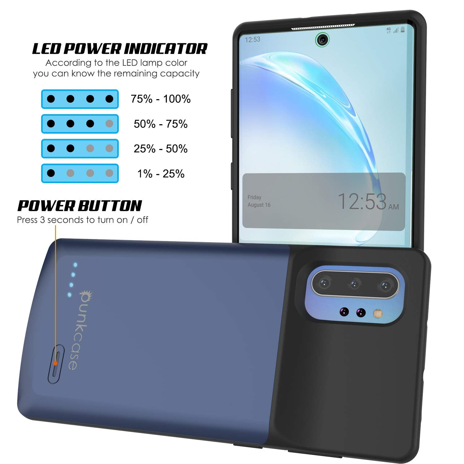 Galaxy Note 10+ Plus 6000mAH Battery Charger W/ USB Port Slim Case [Blue]