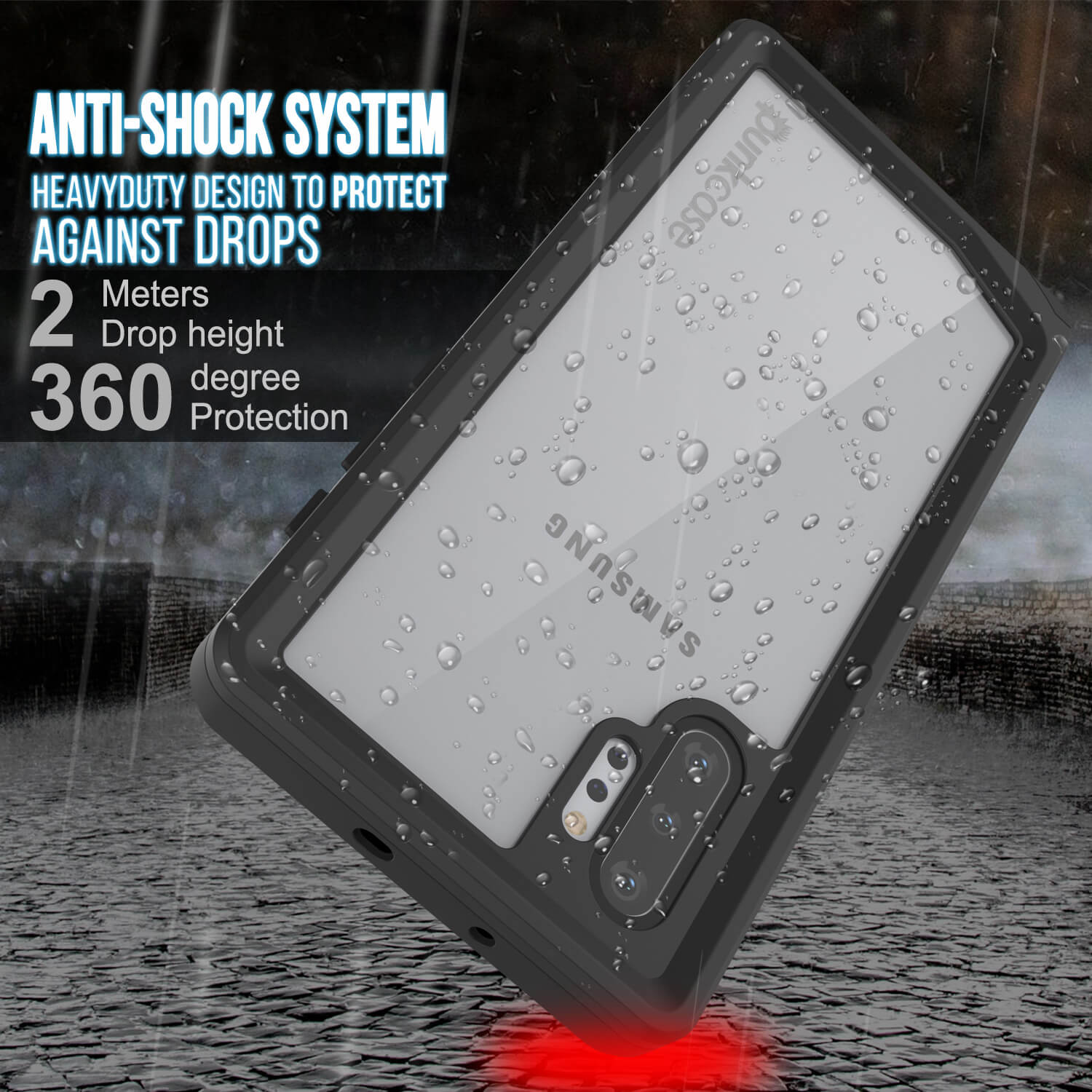Galaxy Note 10+ Plus Waterproof Case, Punkcase Studstar Clear Thin Armor Cover