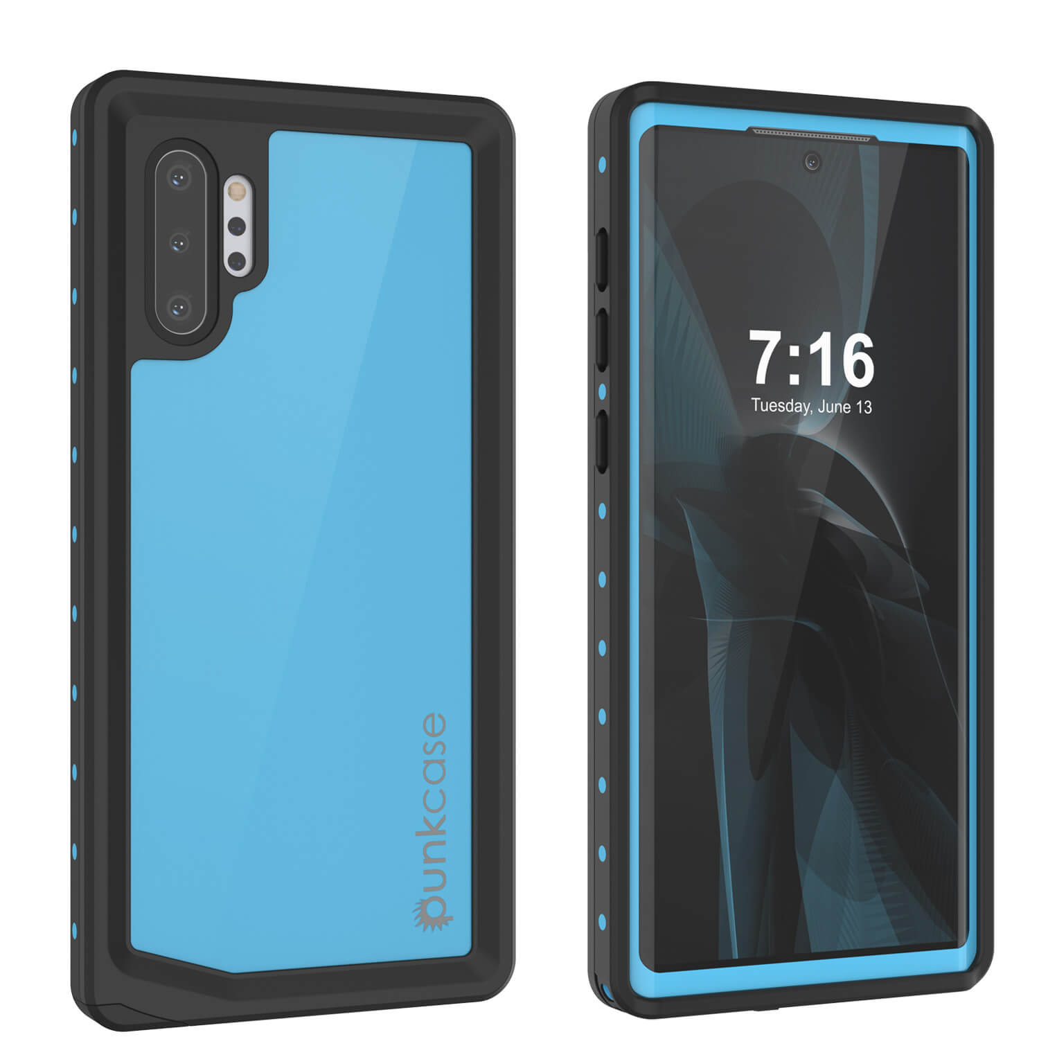 Galaxy Note 10+ Plus Waterproof Case, Punkcase Studstar Light Blue Thin Armor Cover